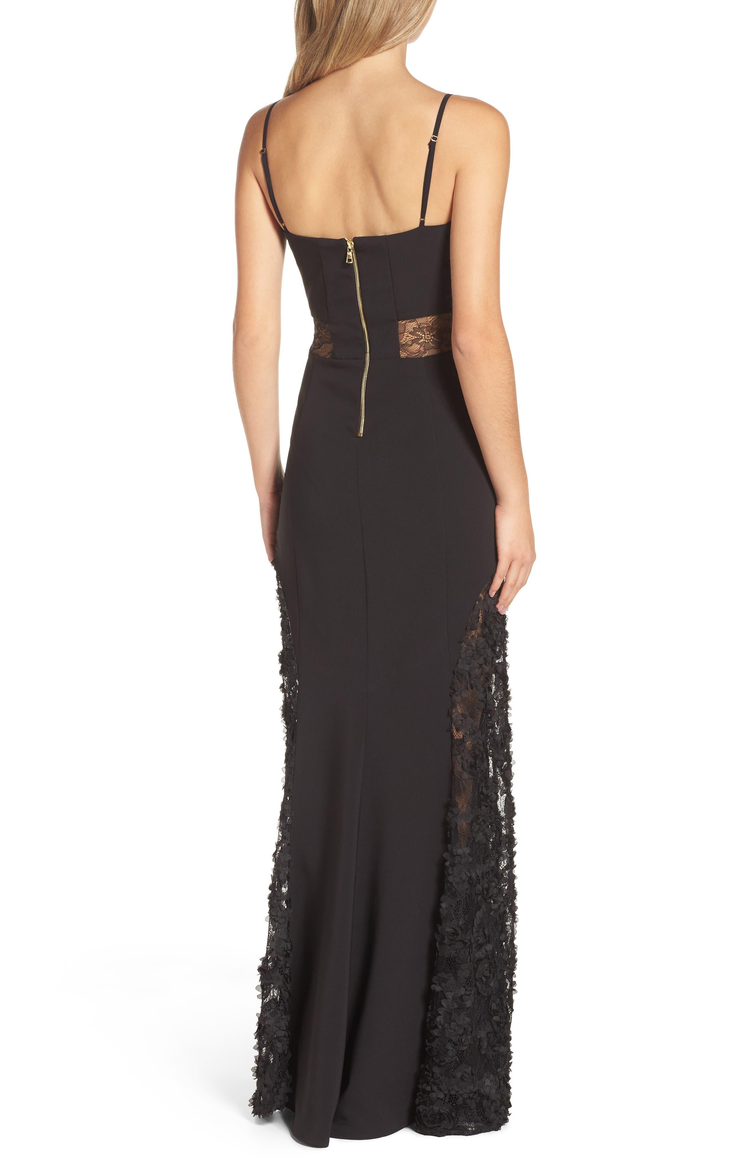 Shannon Lace Inset Gown,                             Alternate thumbnail 2, color,                             Black