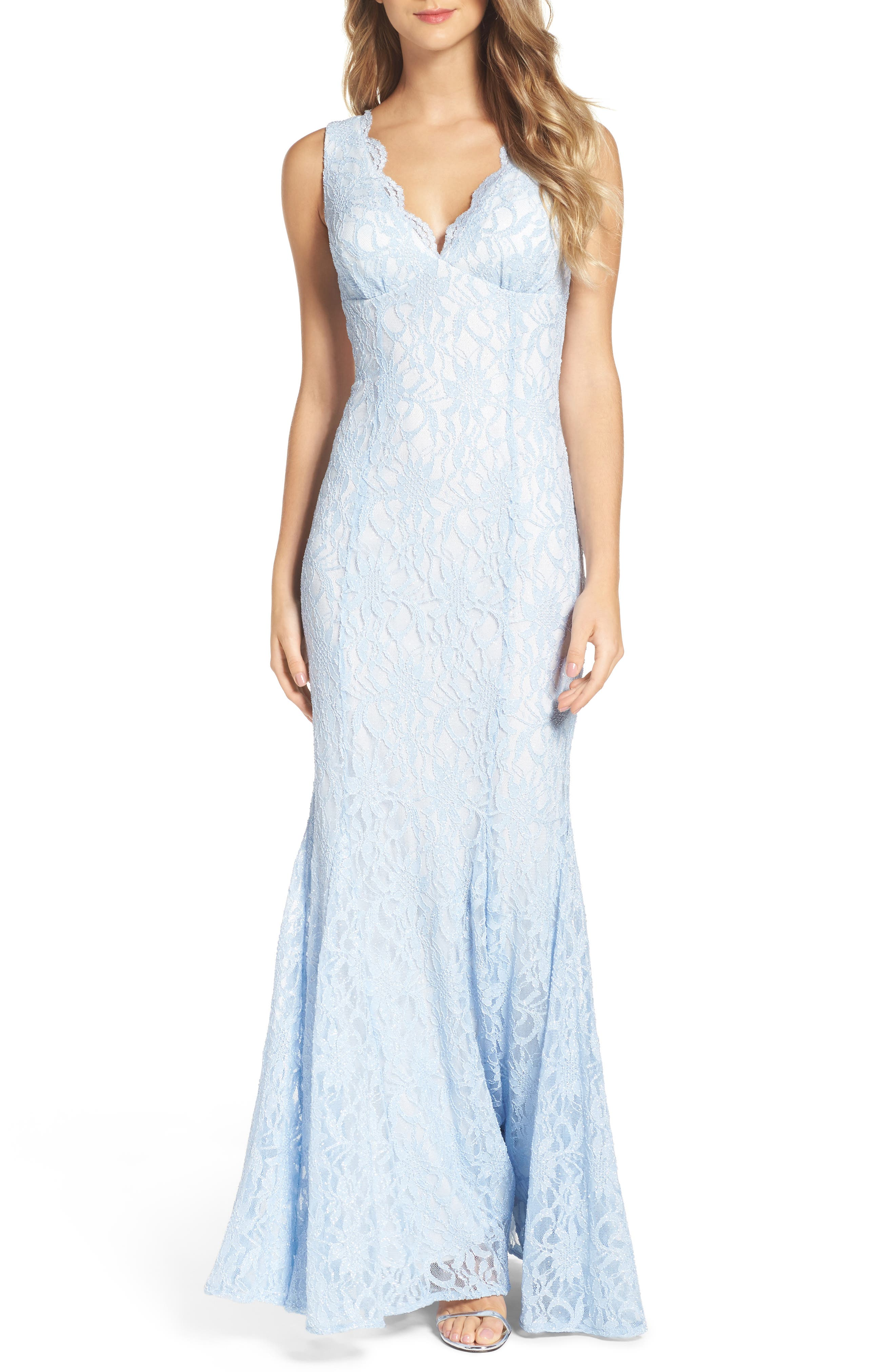 Glitter Lace Gown,                         Main,                         color, Ice Blue/ Ivory