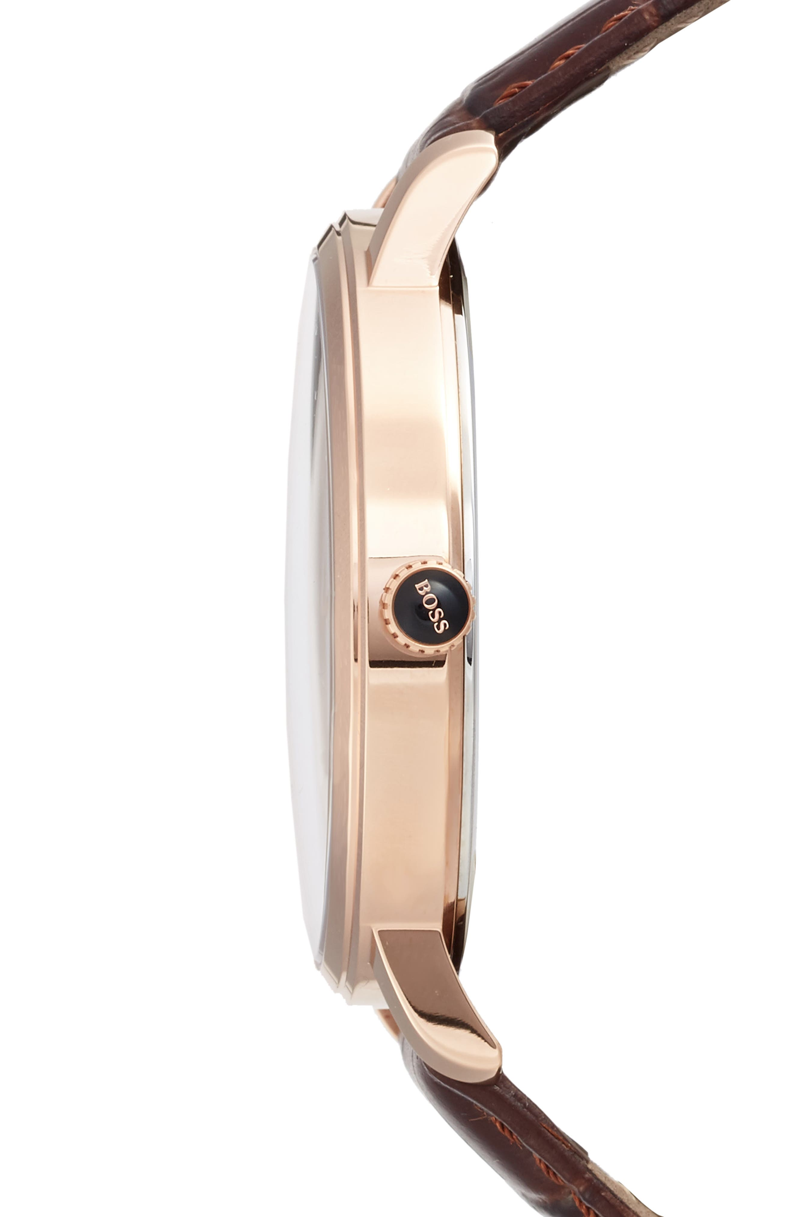 Tradition Leather Strap Watch, 40mm,                             Alternate thumbnail 3, color,                             White/ Brown