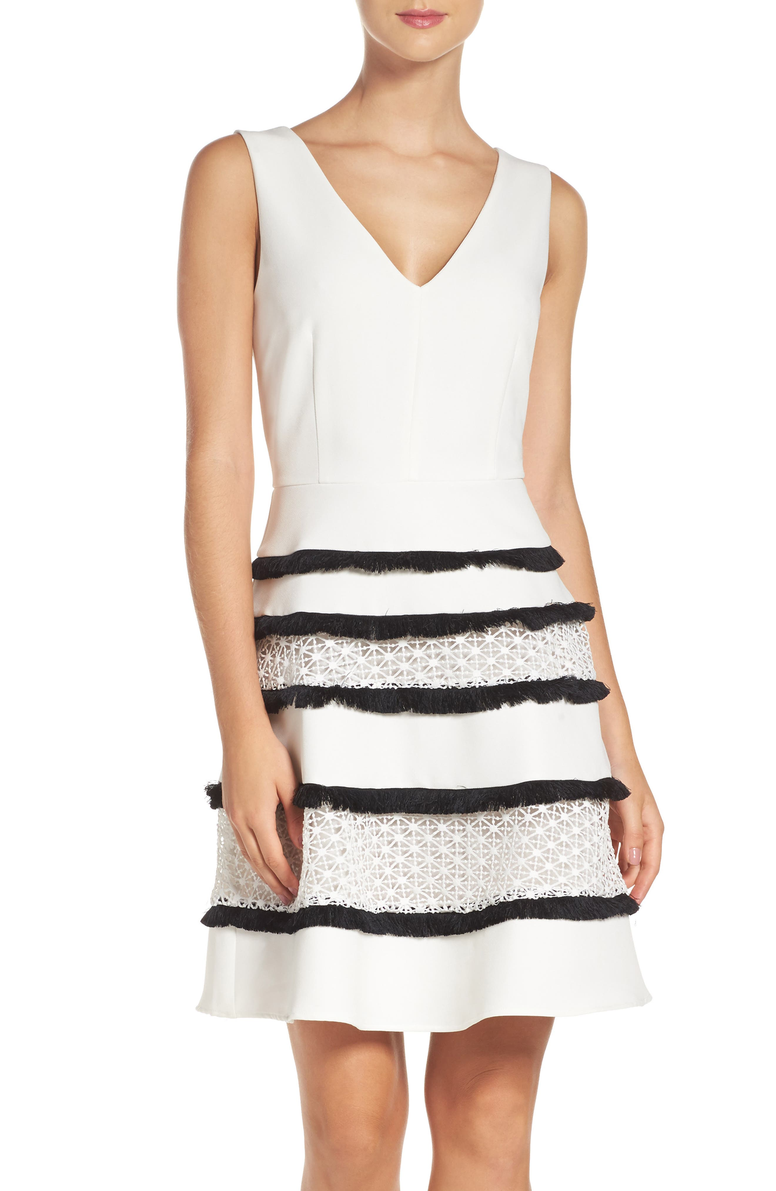 Stripe Fit & Flare Dress,                         Main,                         color, White