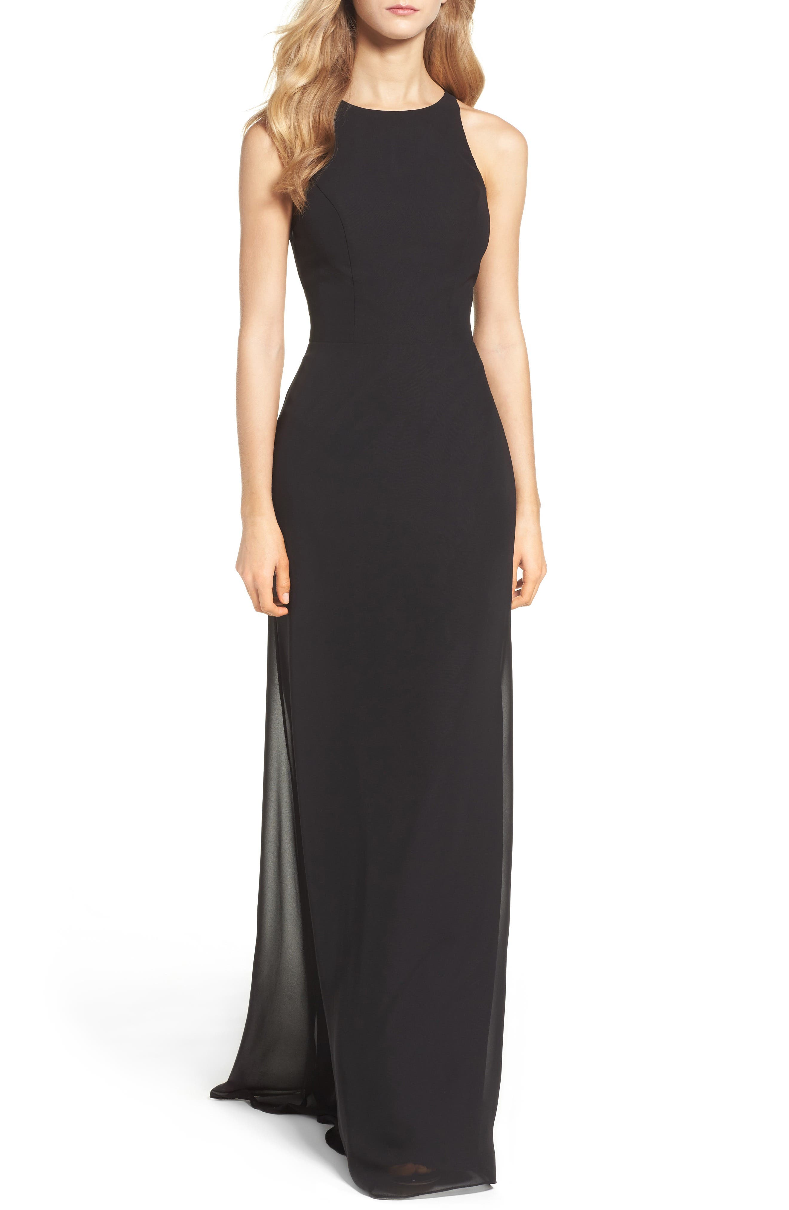 Alternate Image 1 Selected - Hayley Paige Occasions Crewneck Chiffon Gown