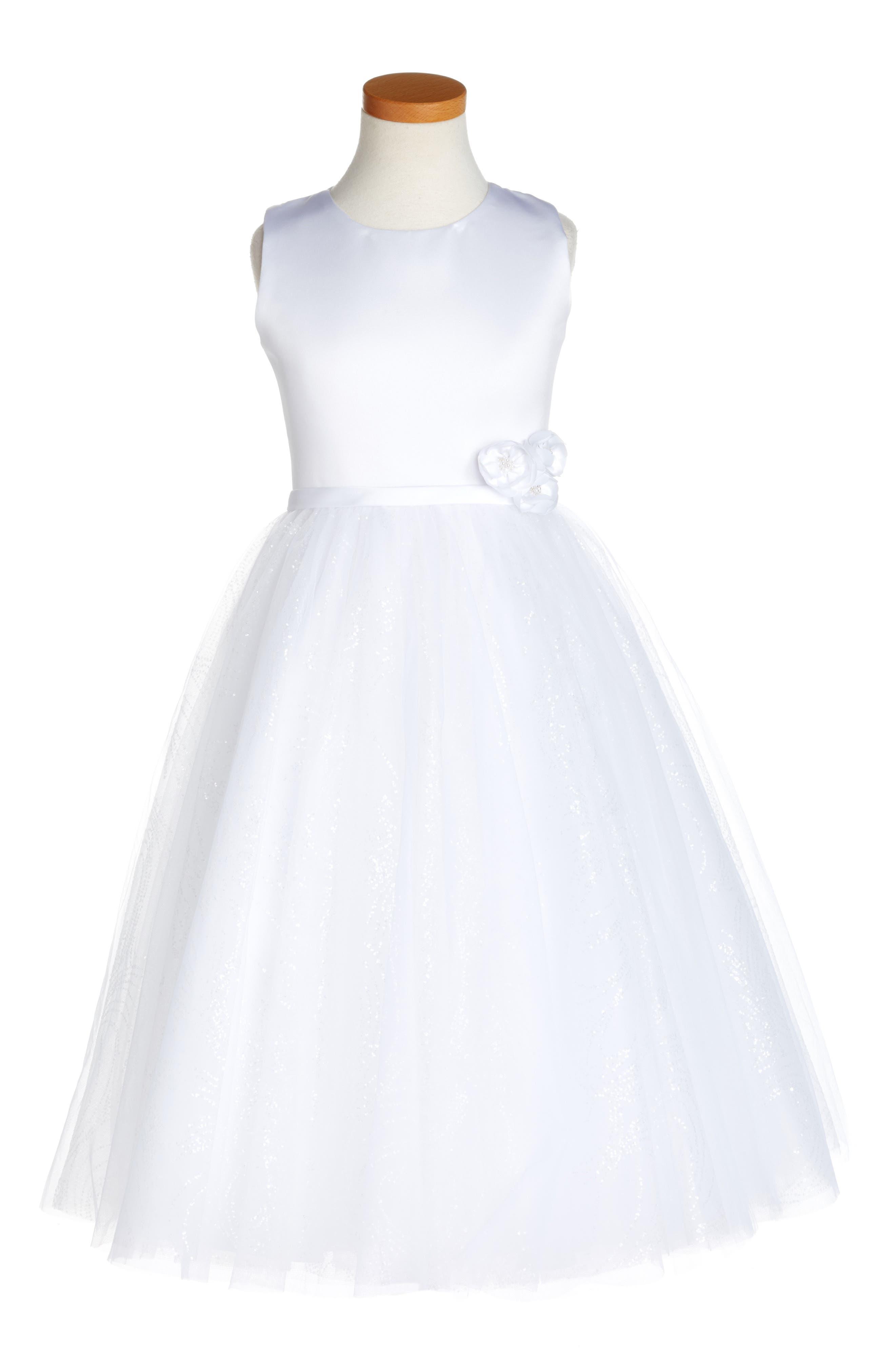 Joan Calabrese for Mon Cheri Glitter Floral First Communion Dress (Little Girls & Big Girls)
