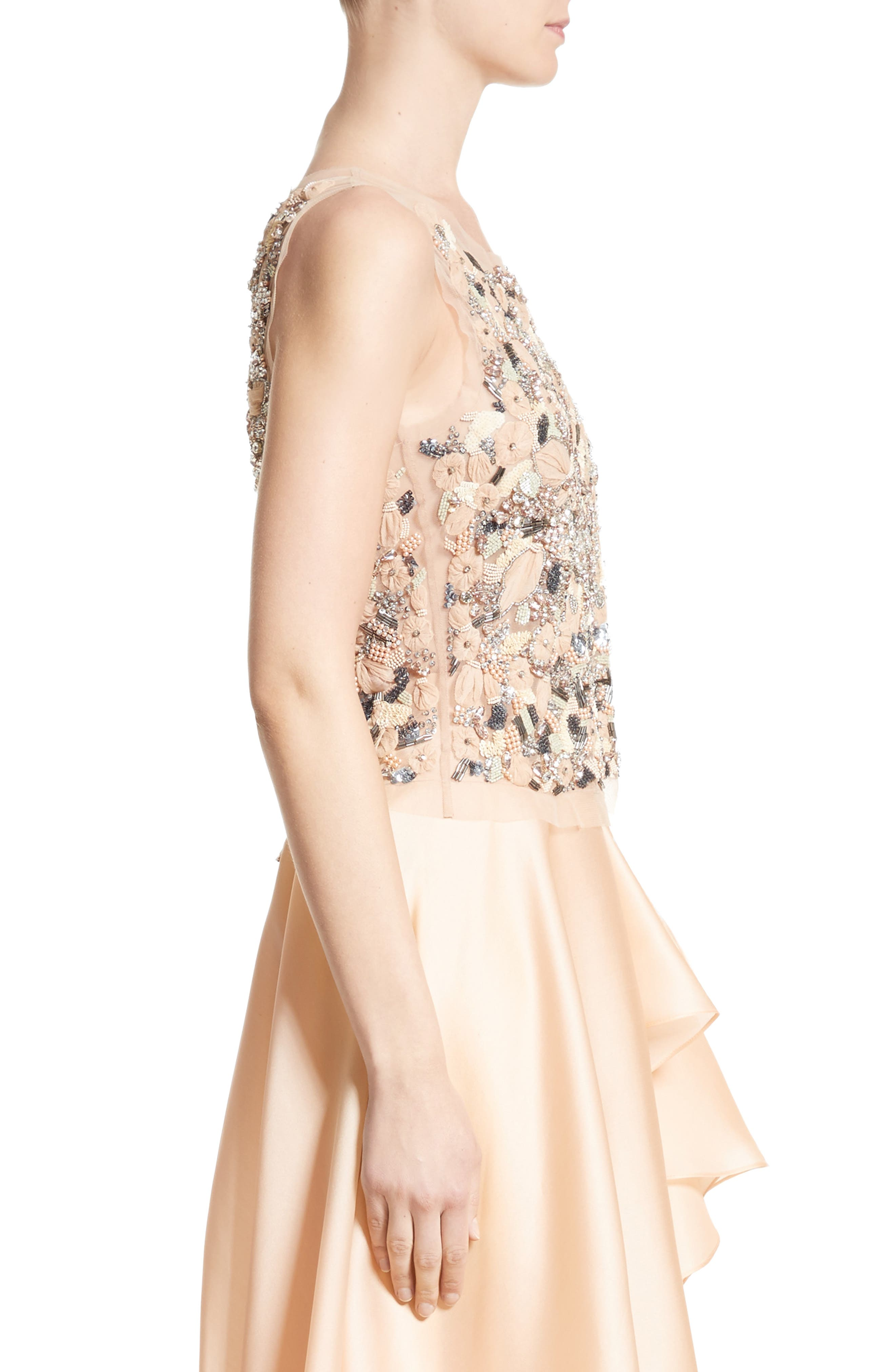 Badgley Mischka Couture Beaded Top,                             Alternate thumbnail 6, color,                             Peach