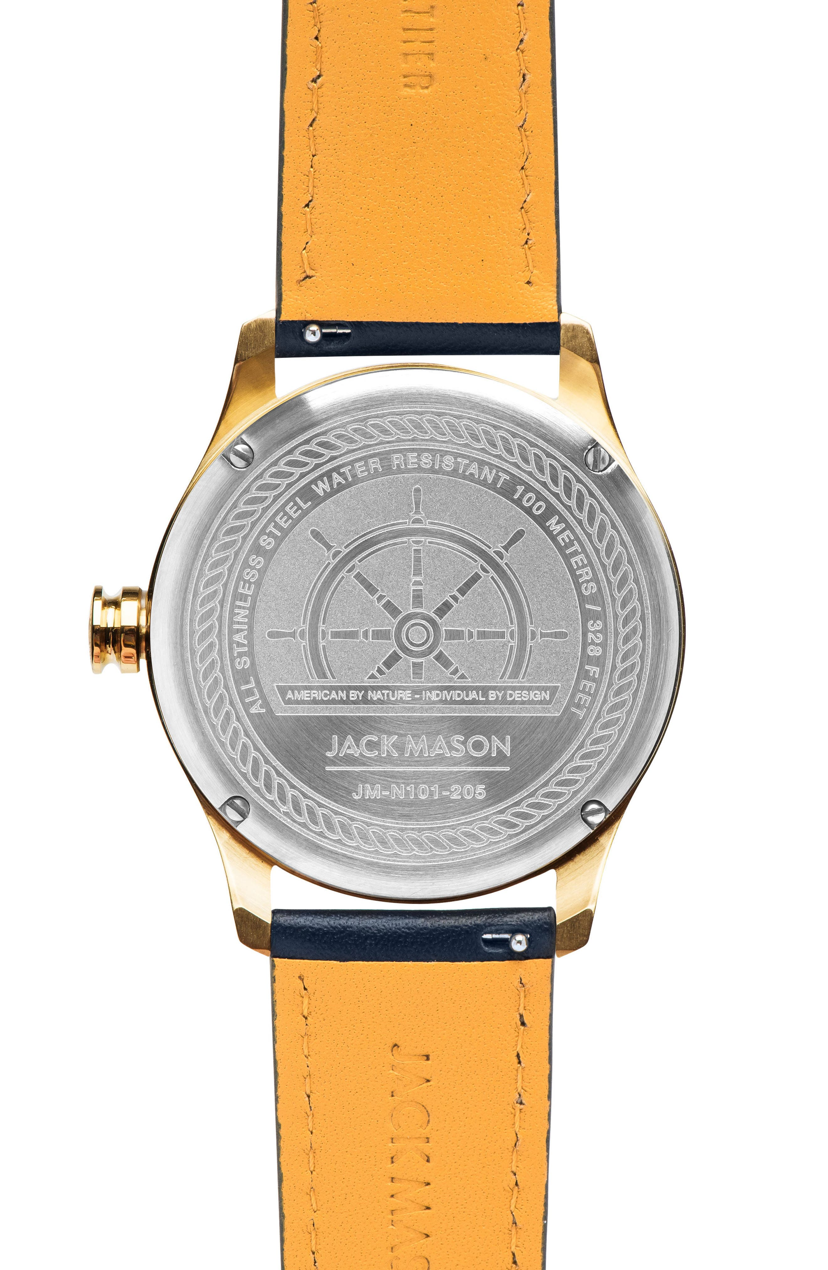 Nautical Leather Strap Watch, 42mm,                             Alternate thumbnail 2, color,                             White/ Navy