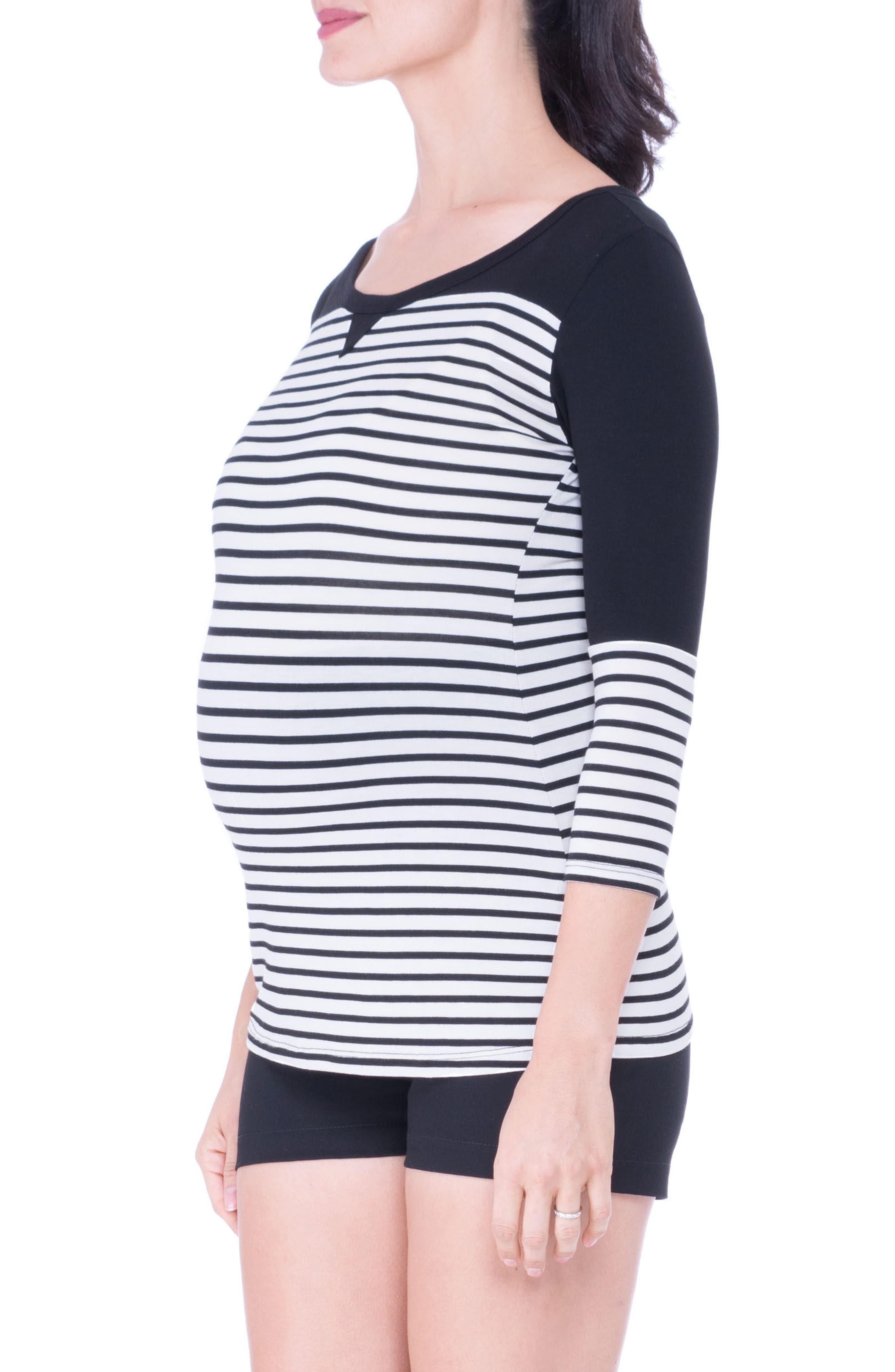 Stripe Maternity Tee,                             Main thumbnail 1, color,                             Black/ White