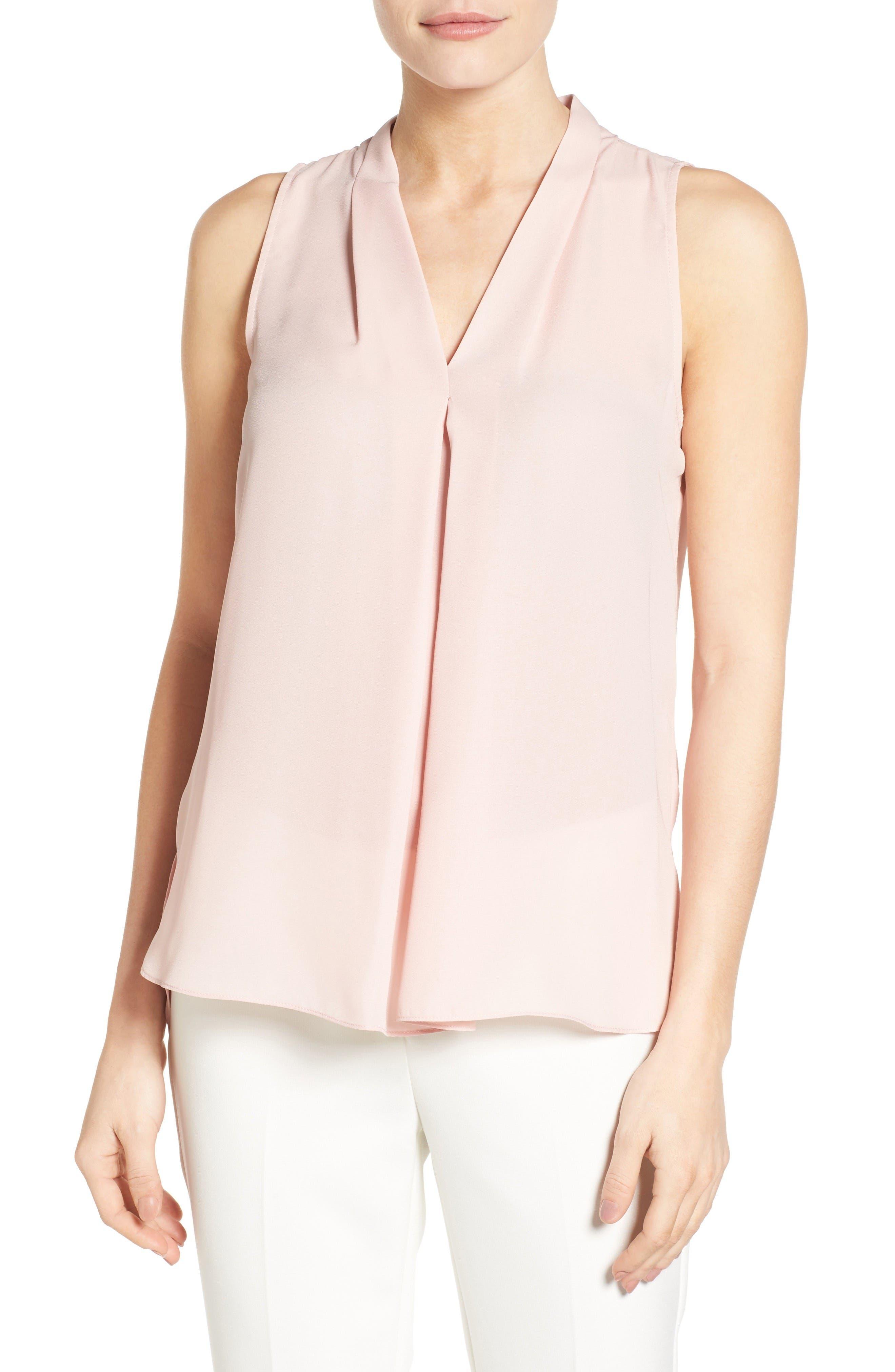 Sleeveless V-Neck Blouse,                         Main,                         color, Rosy Flush