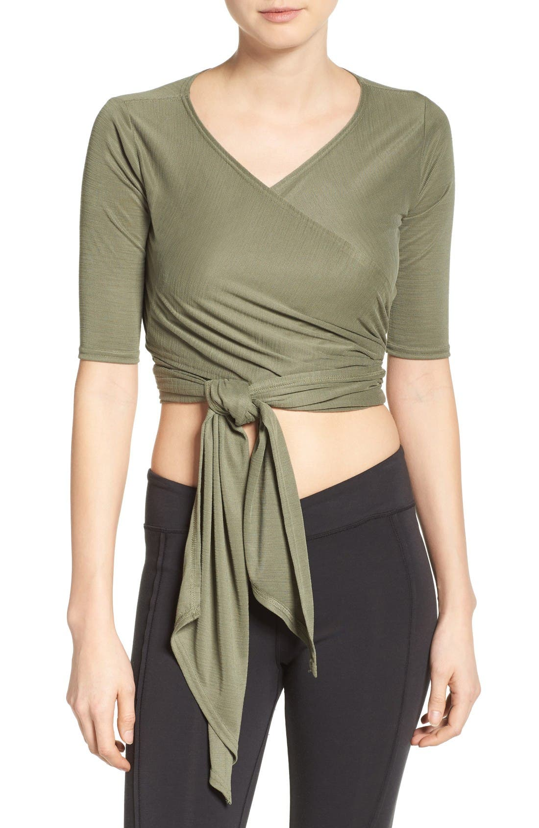 Sacred Wrap Top,                         Main,                         color, Moss