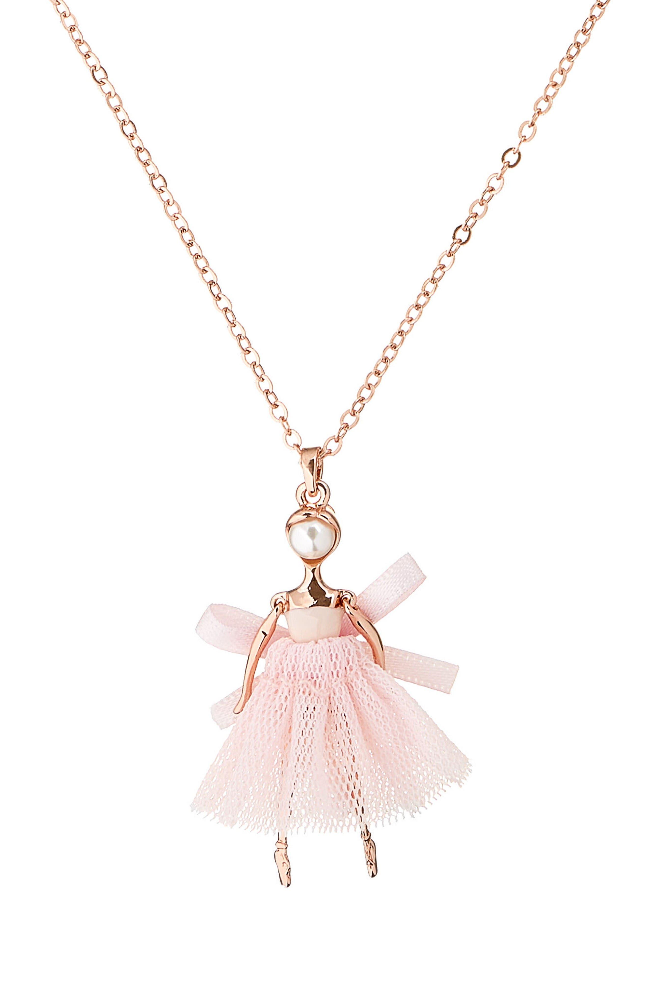 Carabel Ballerina Pendant Necklace,                             Alternate thumbnail 2, color,                             Nude Pink