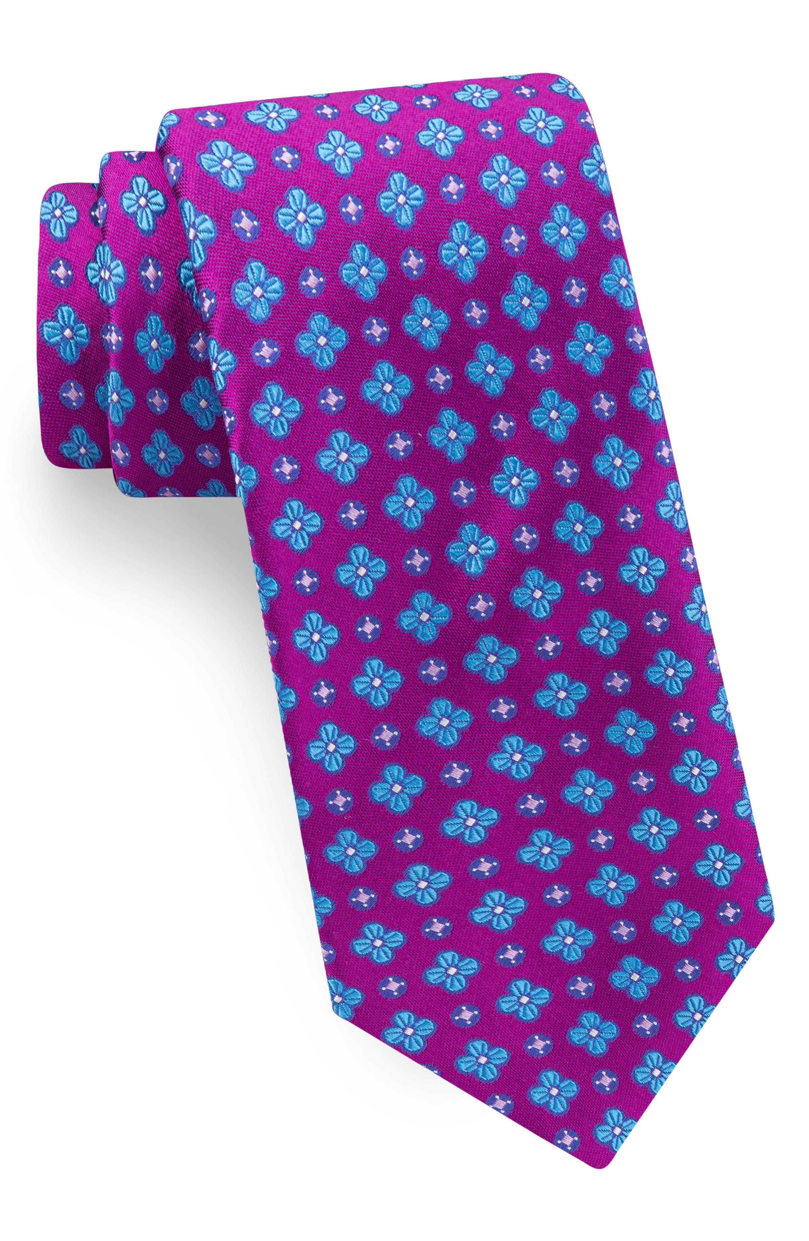 Lansbury Floral Silk Tie,                         Main,                         color, Fuchsia