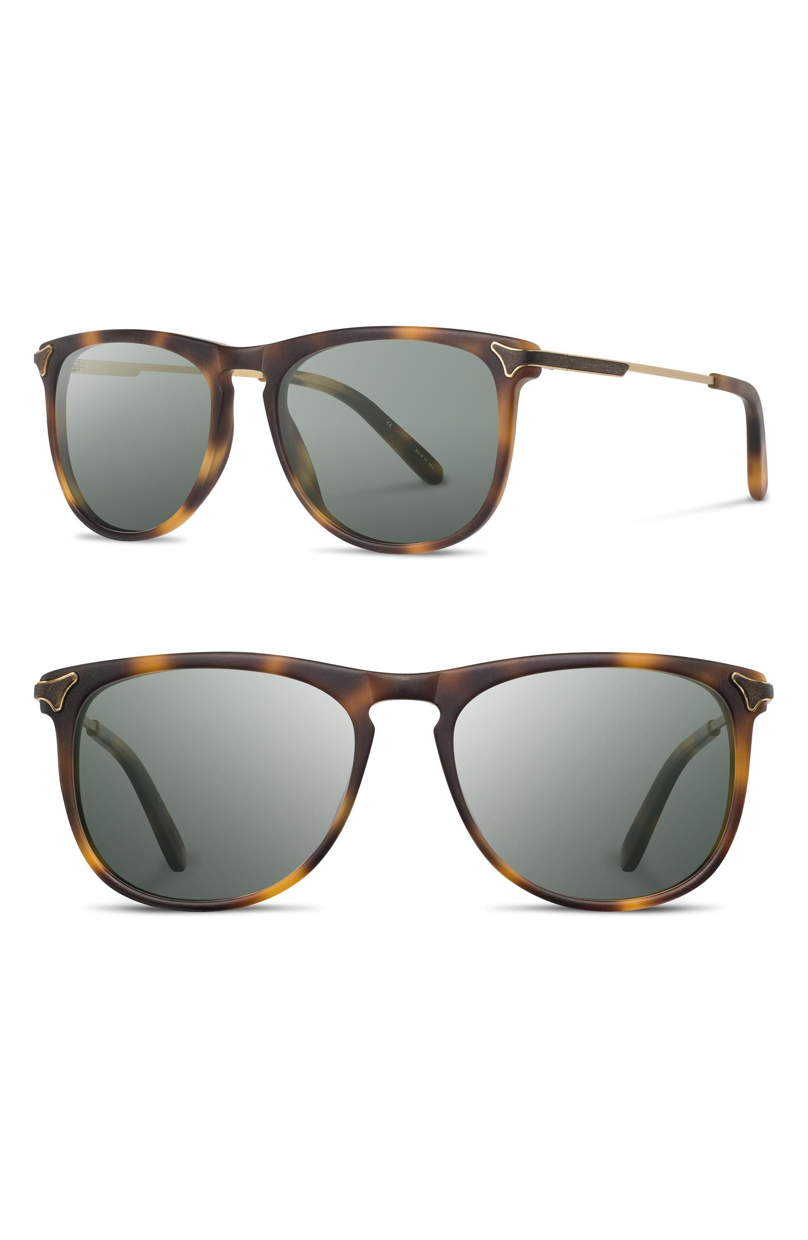 Keller 53mm Polarized Sunglasses,                         Main,                         color, Matte Brindle/ G15 Polar
