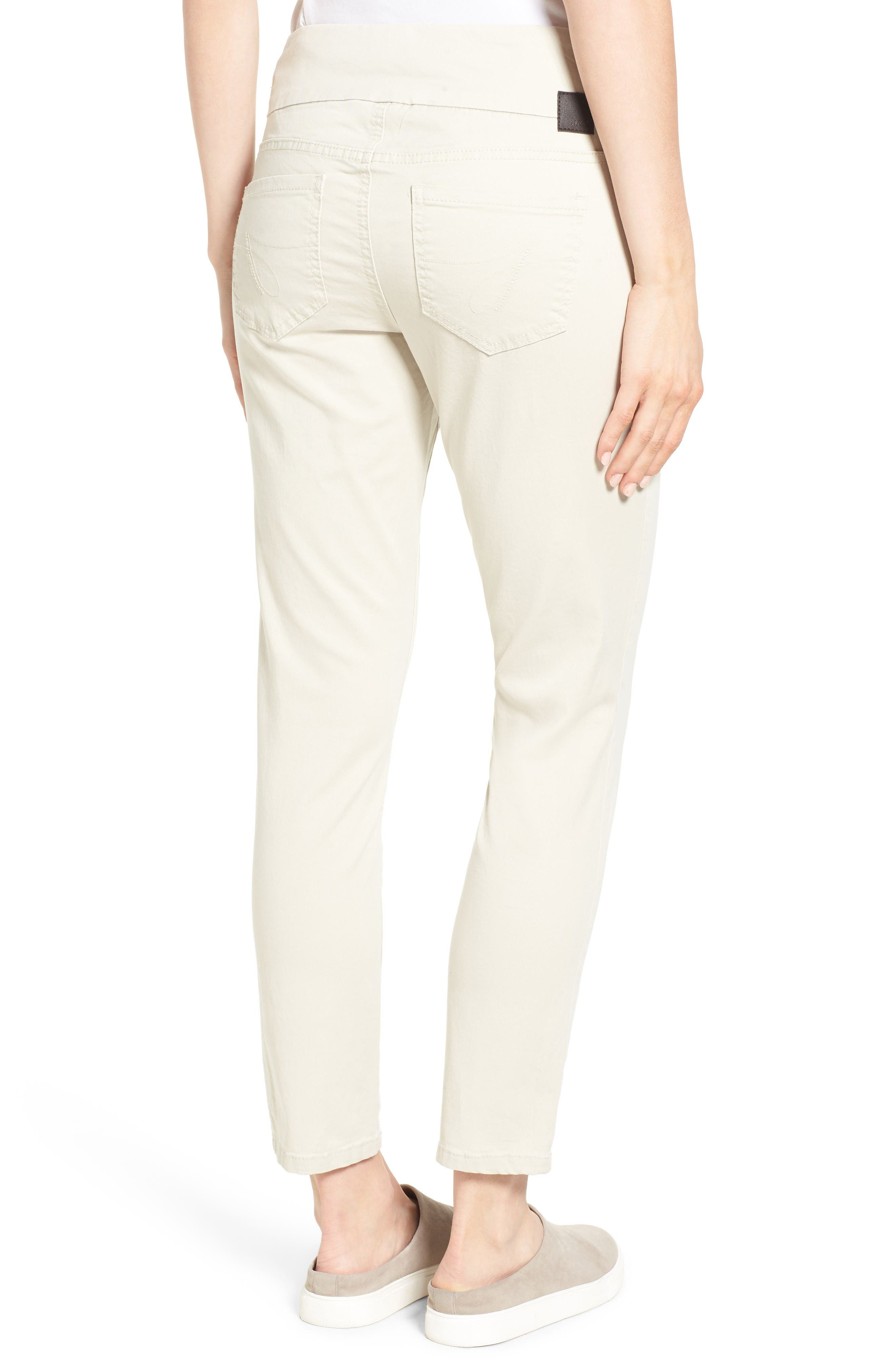 Amelia Pull-On Slim Stretch Twill Ankle Pants,                             Alternate thumbnail 2, color,                             Stone