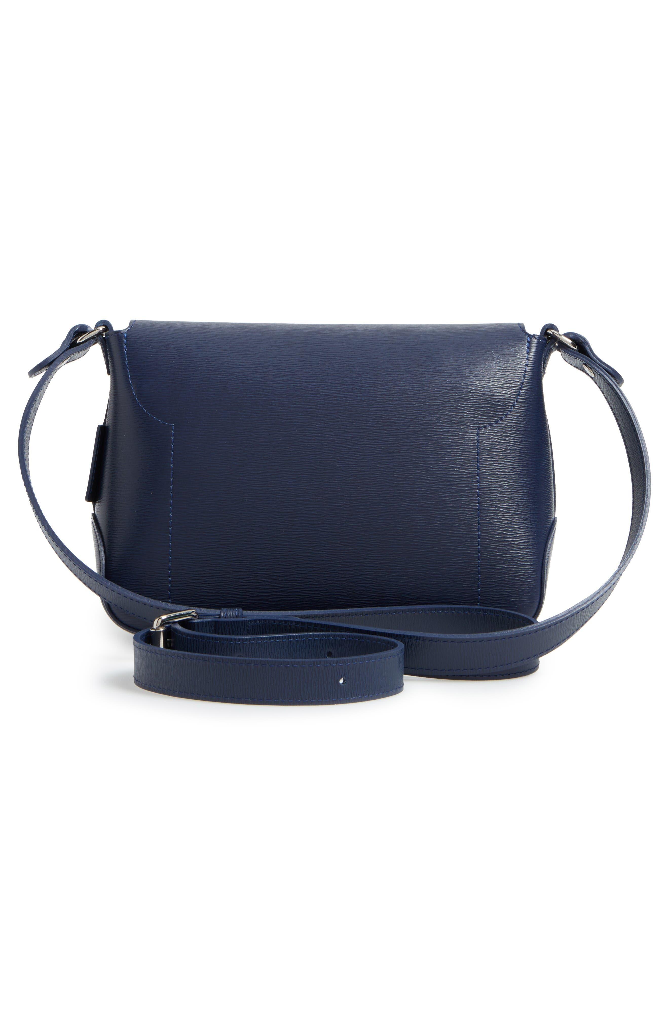 Roseau Leather Crossbody Bag,                             Alternate thumbnail 3, color,                             Navy