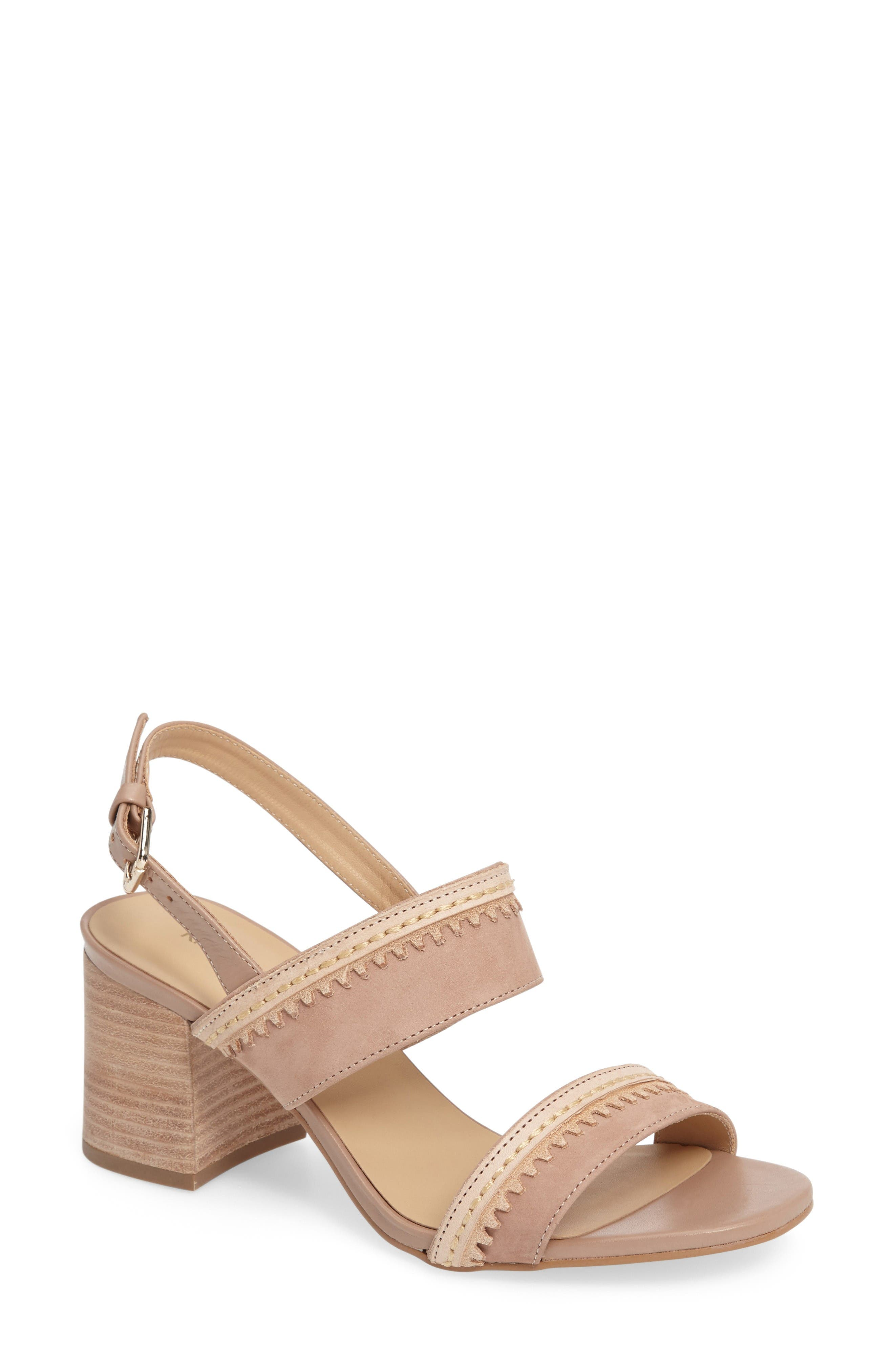 Rycca Block Heel Sandal,                         Main,                         color, Blush Leather