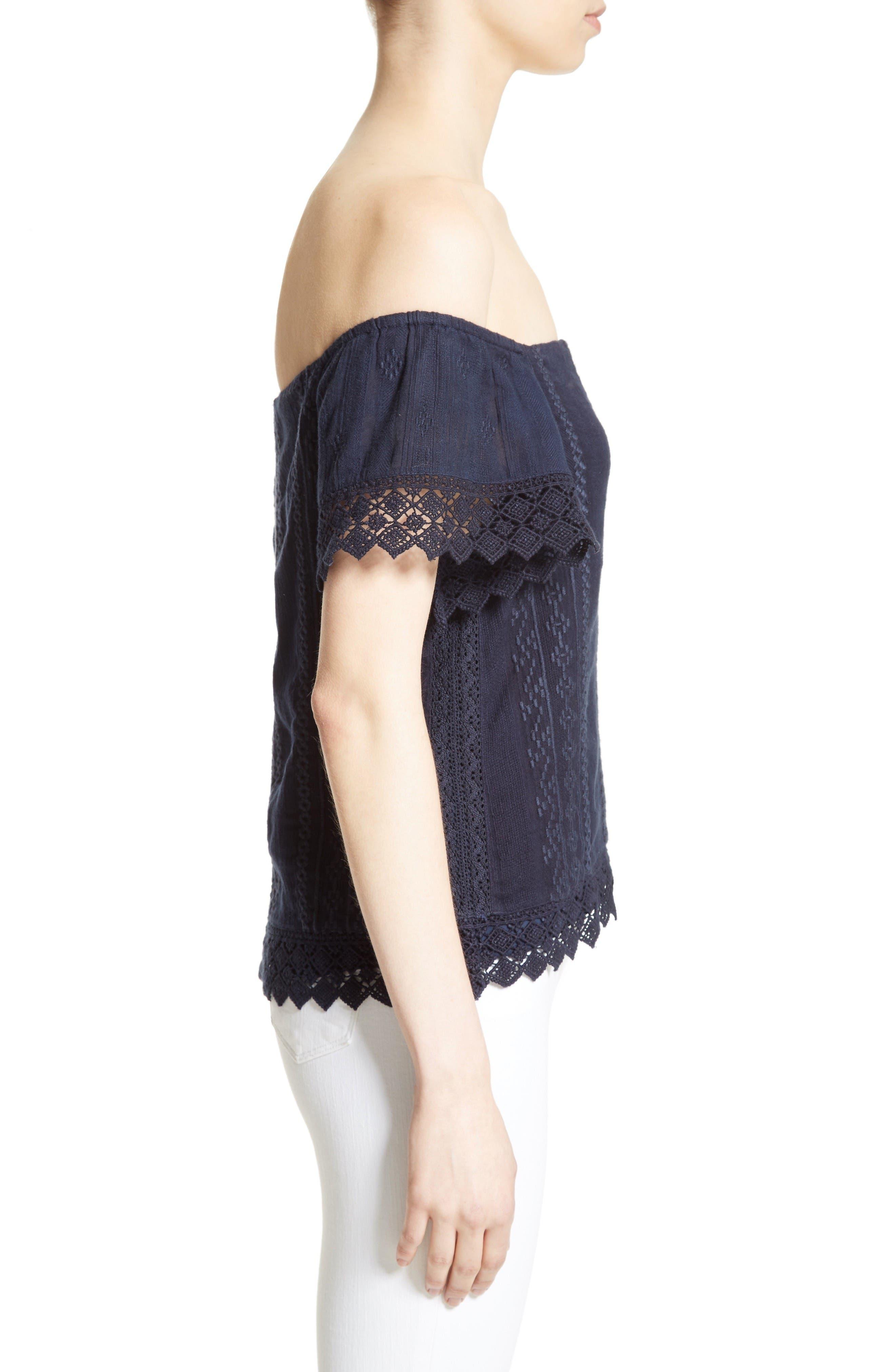 Alternate Image 3  - Alice + Olivia Jules Embroidered Cotton Off the Shoulder Top