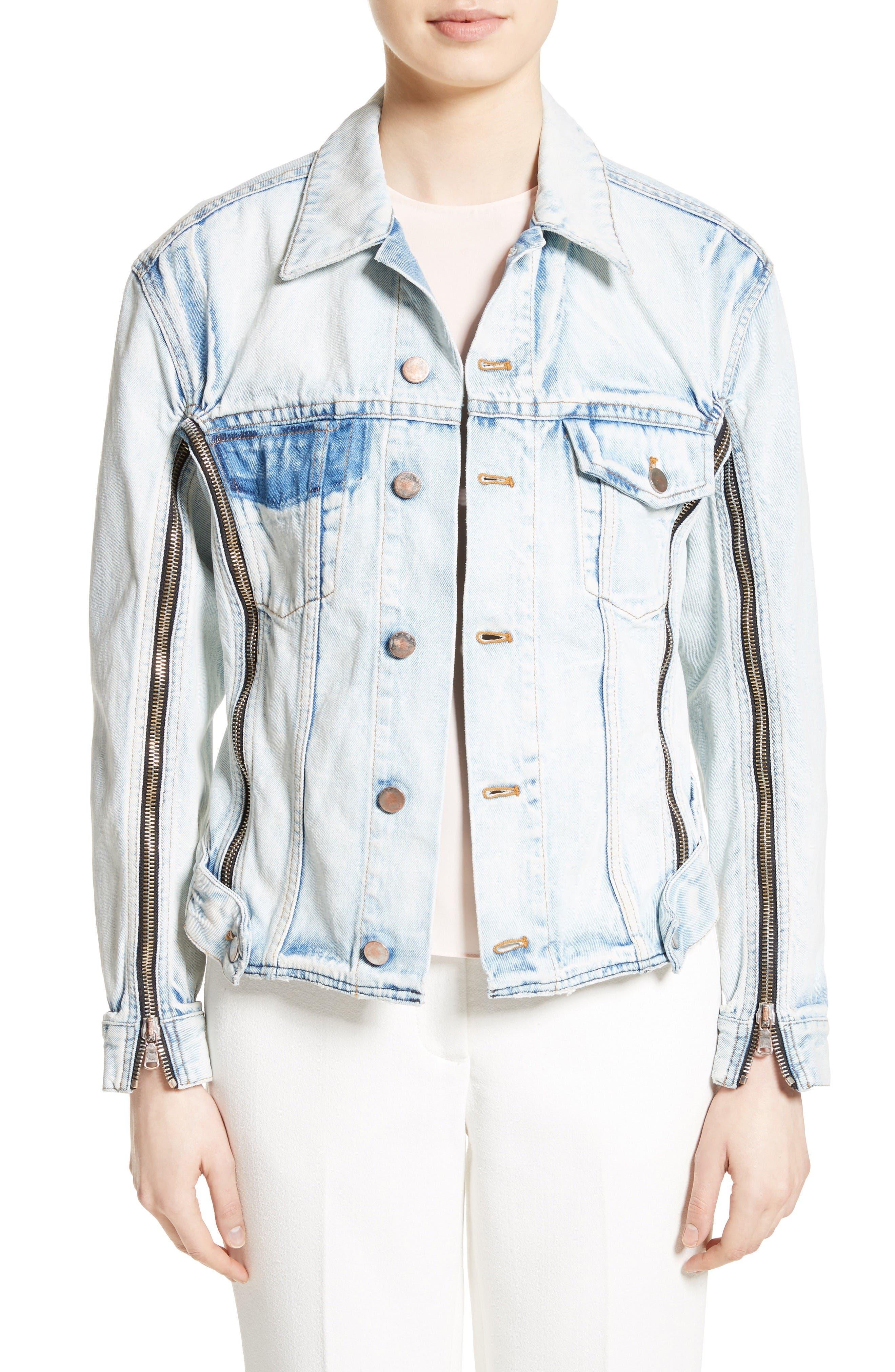 Zipper Detail Denim Jacket,                             Main thumbnail 1, color,                             Indigo