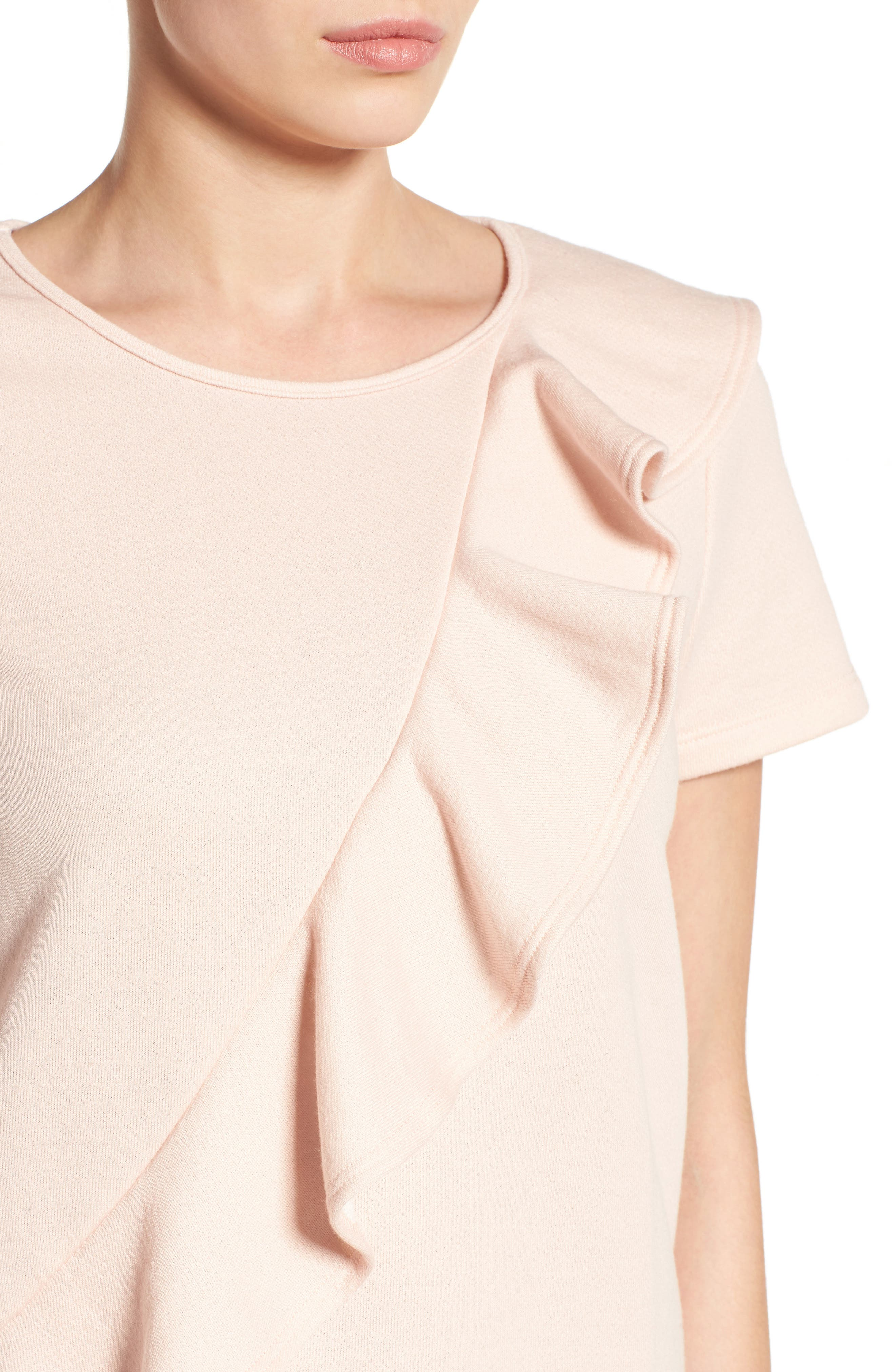 Alternate Image 4  - Pleione Asymmetrical Ruffle Sweatshirt (Regular & Petite)