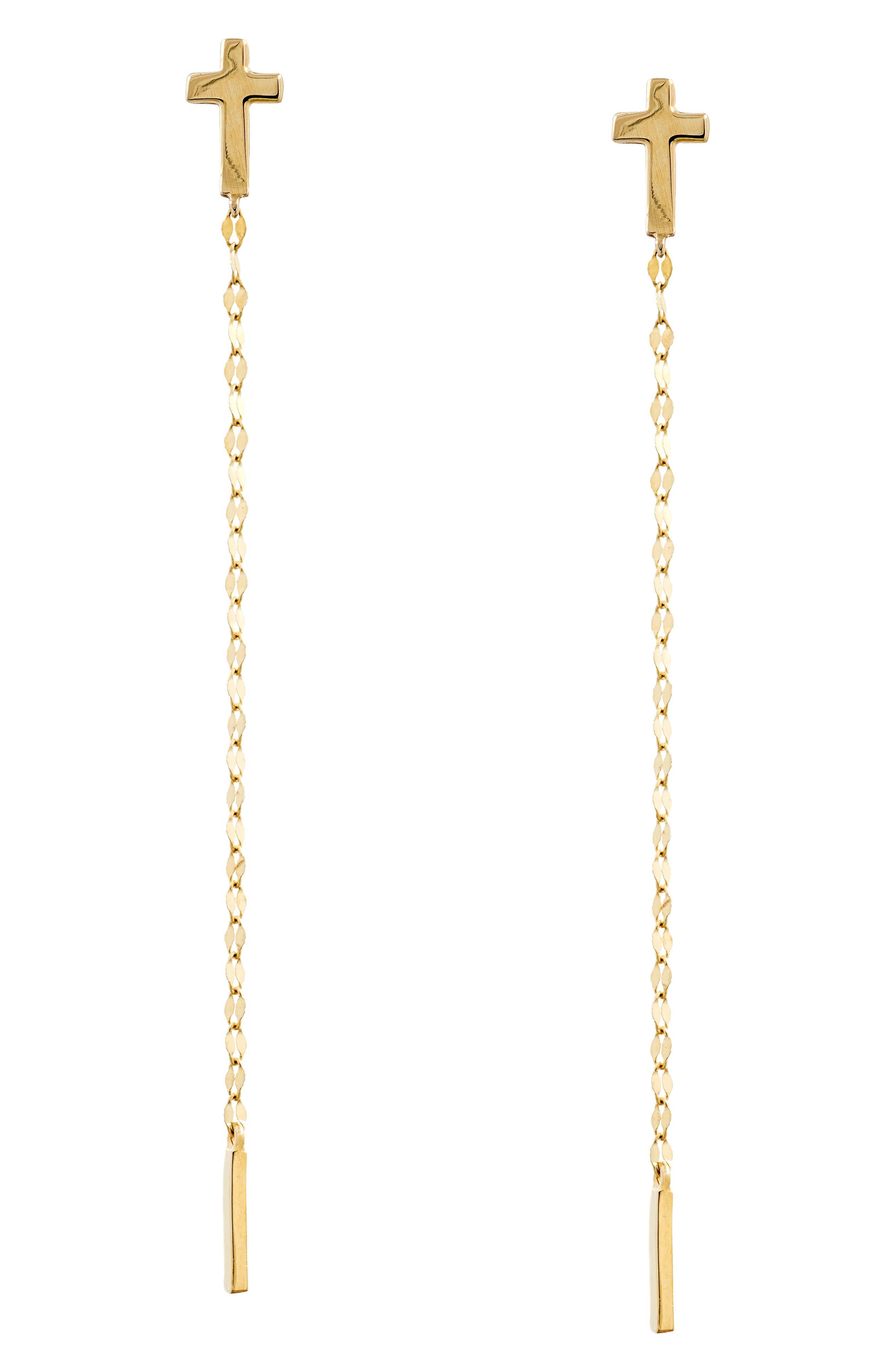 Cross Duster Earrings,                             Main thumbnail 1, color,                             Yellow Gold