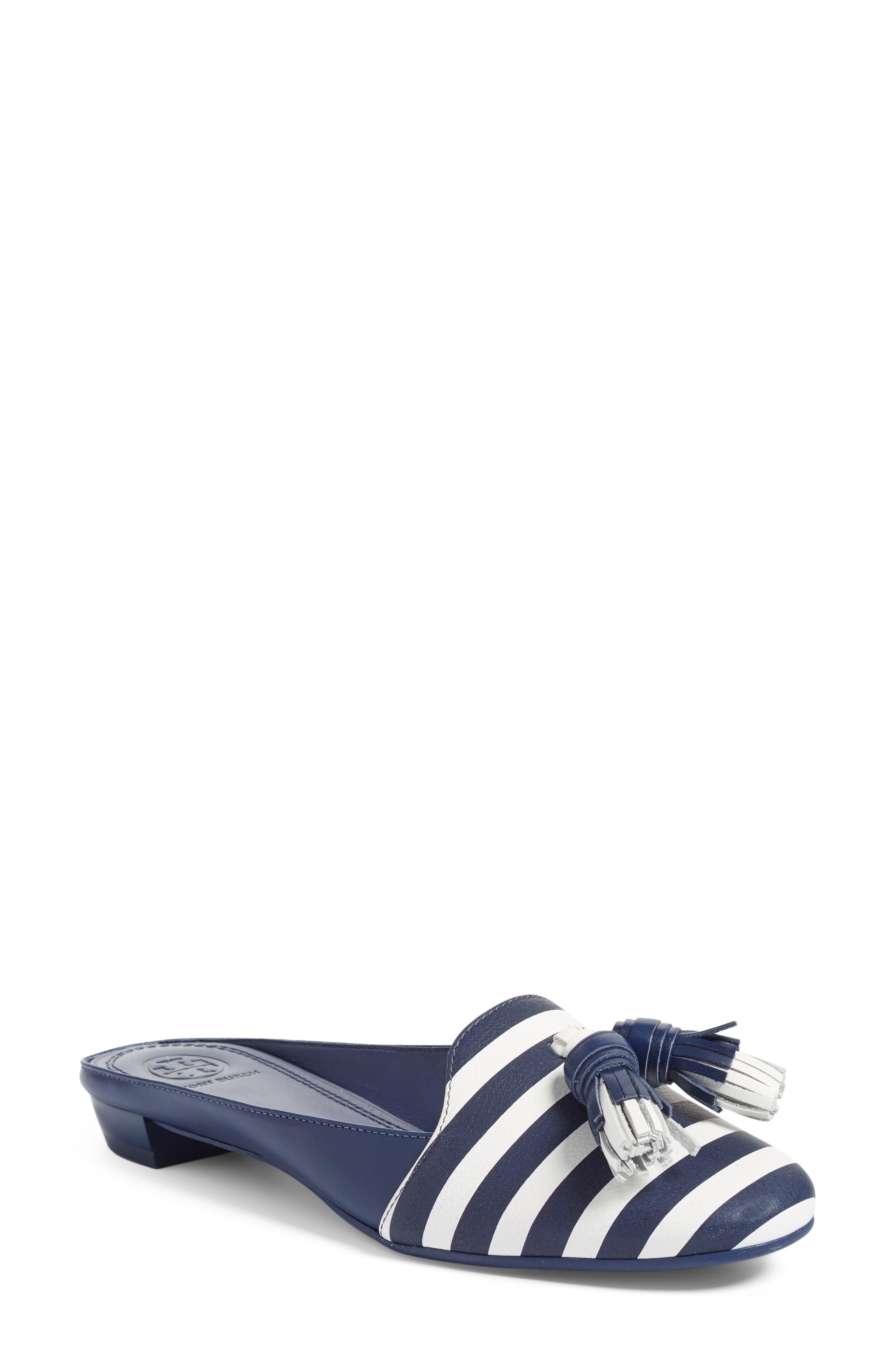 Maritime Tassel Mule Loafer,                             Main thumbnail 1, color,                             Navy Sea / White