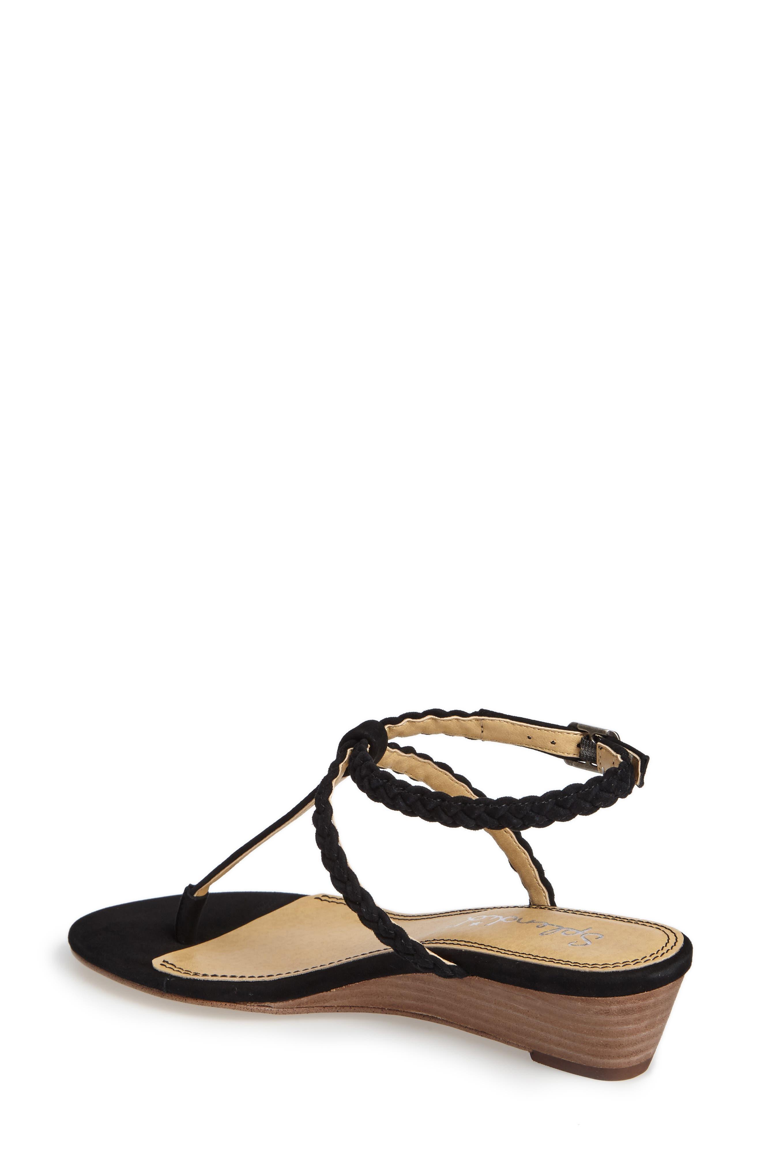 Jadia T-Strap Sandal,                             Alternate thumbnail 2, color,                             Black Suede