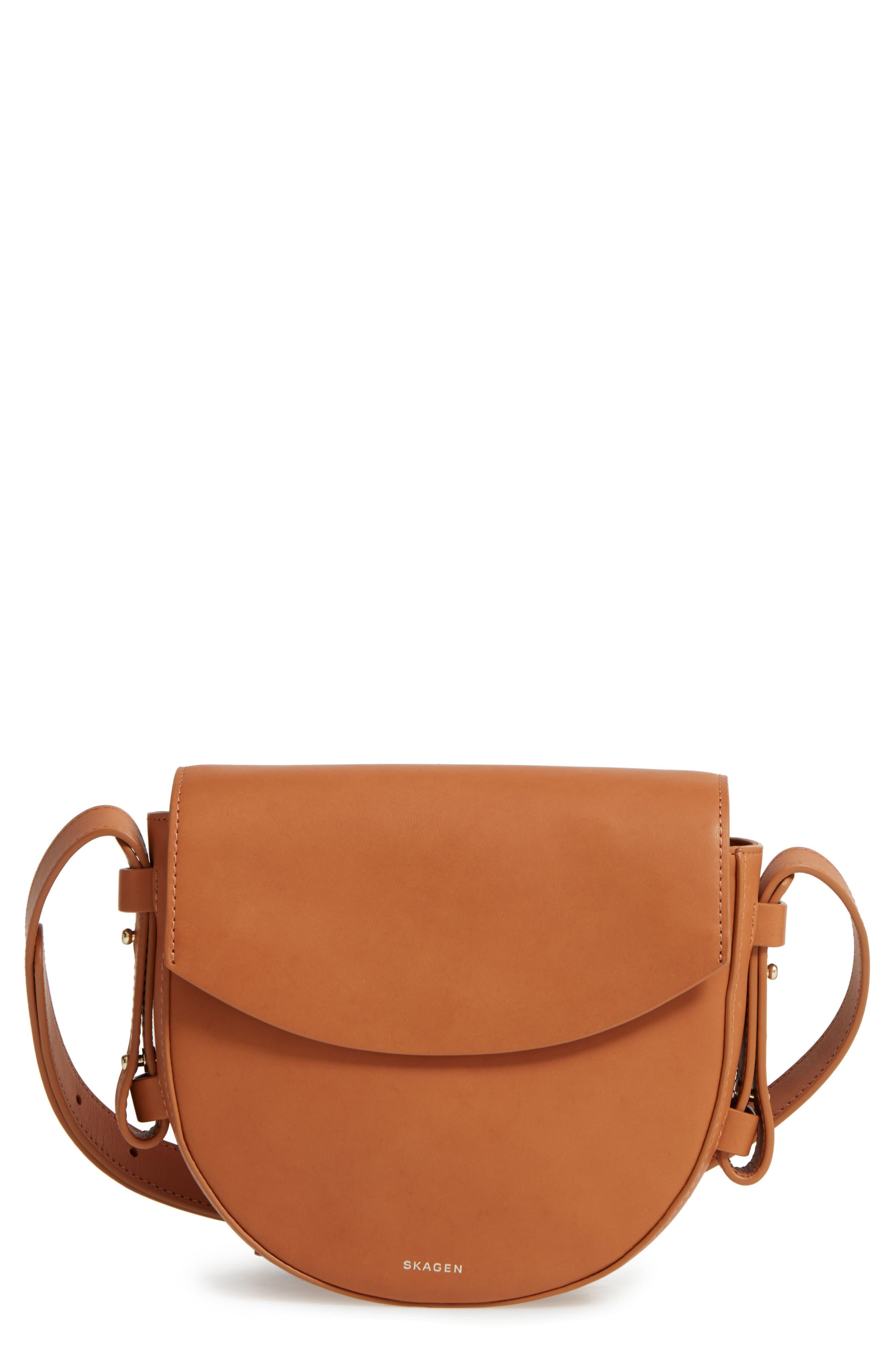 Lobelle Leather Saddle Bag,                             Main thumbnail 1, color,                             Tan