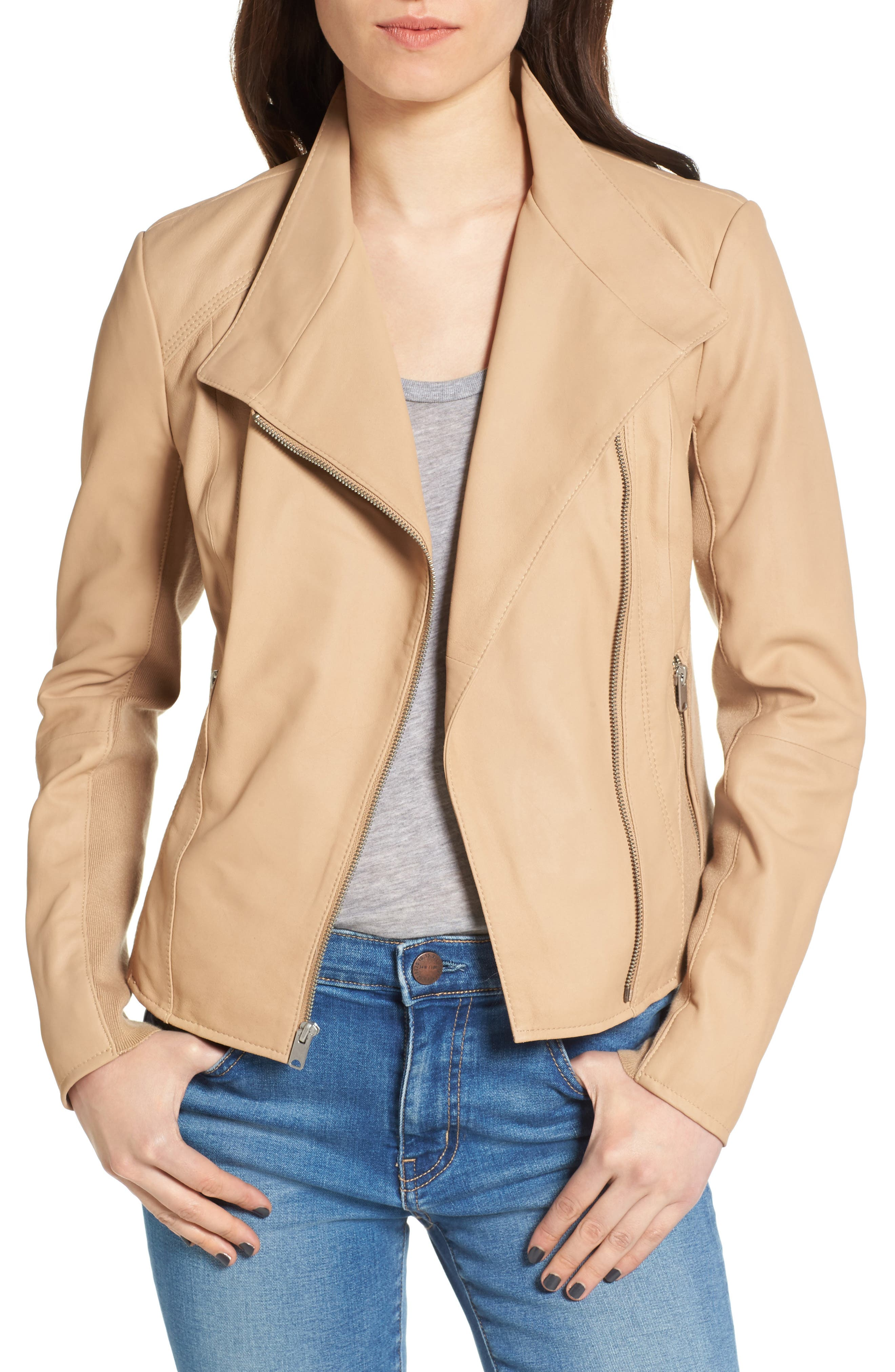 Main Image - Andrew Marc Felicia Asymmetrical Zip Leather Jacket