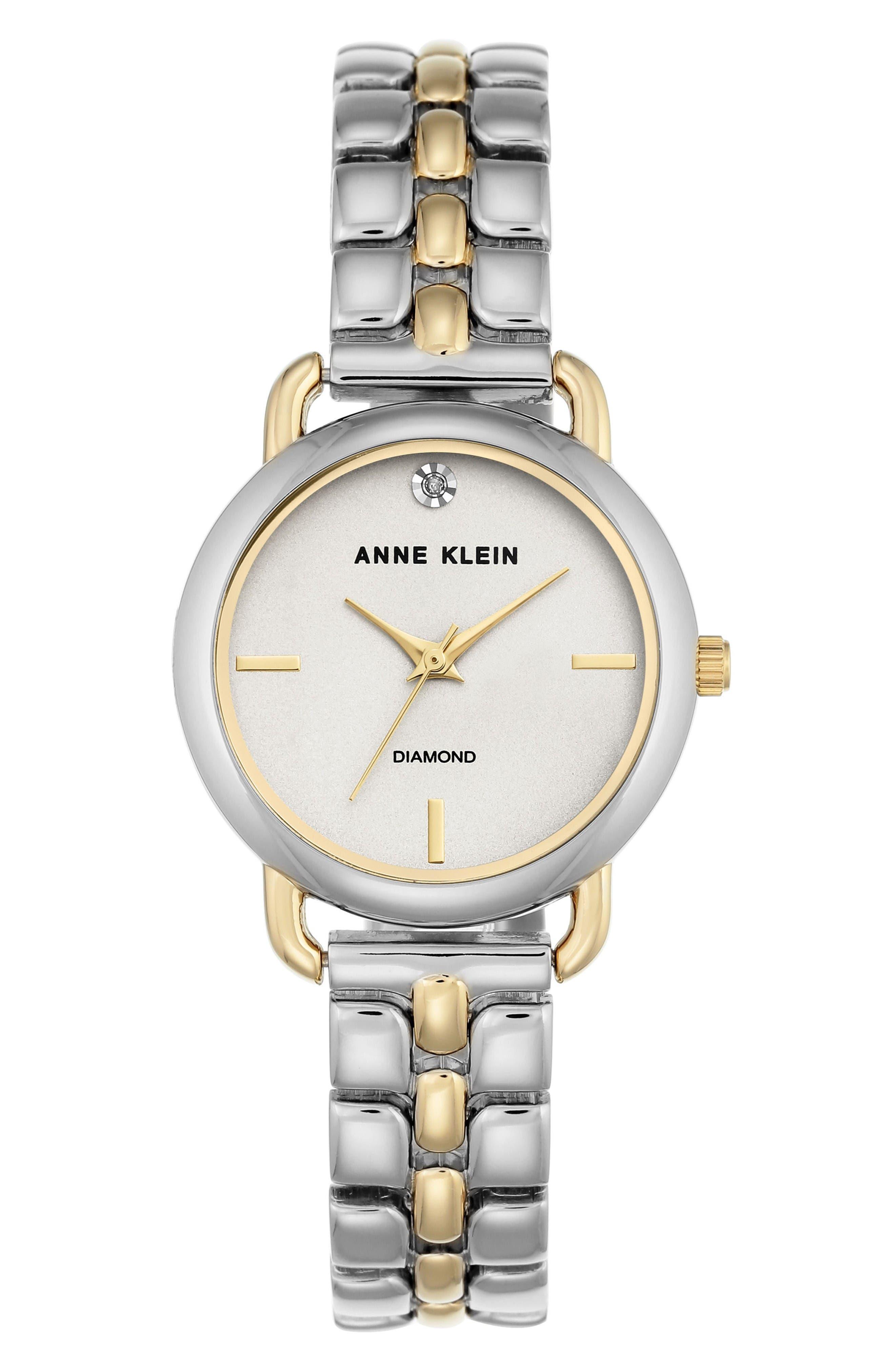 Diamond Bracelet Watch, 30mm,                         Main,                         color, Silver/ White/ Gold