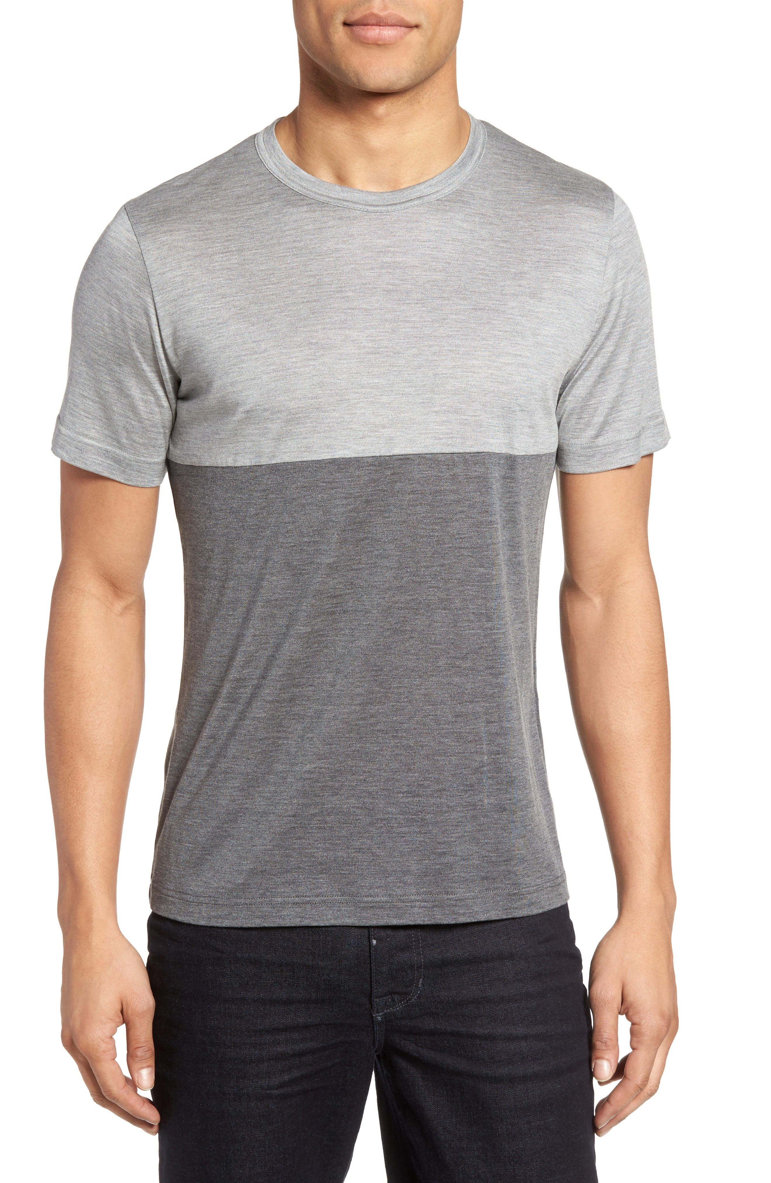 Colorblock Silk & Cotton T-Shirt,                         Main,                         color, Light Grey/ Dark Grey