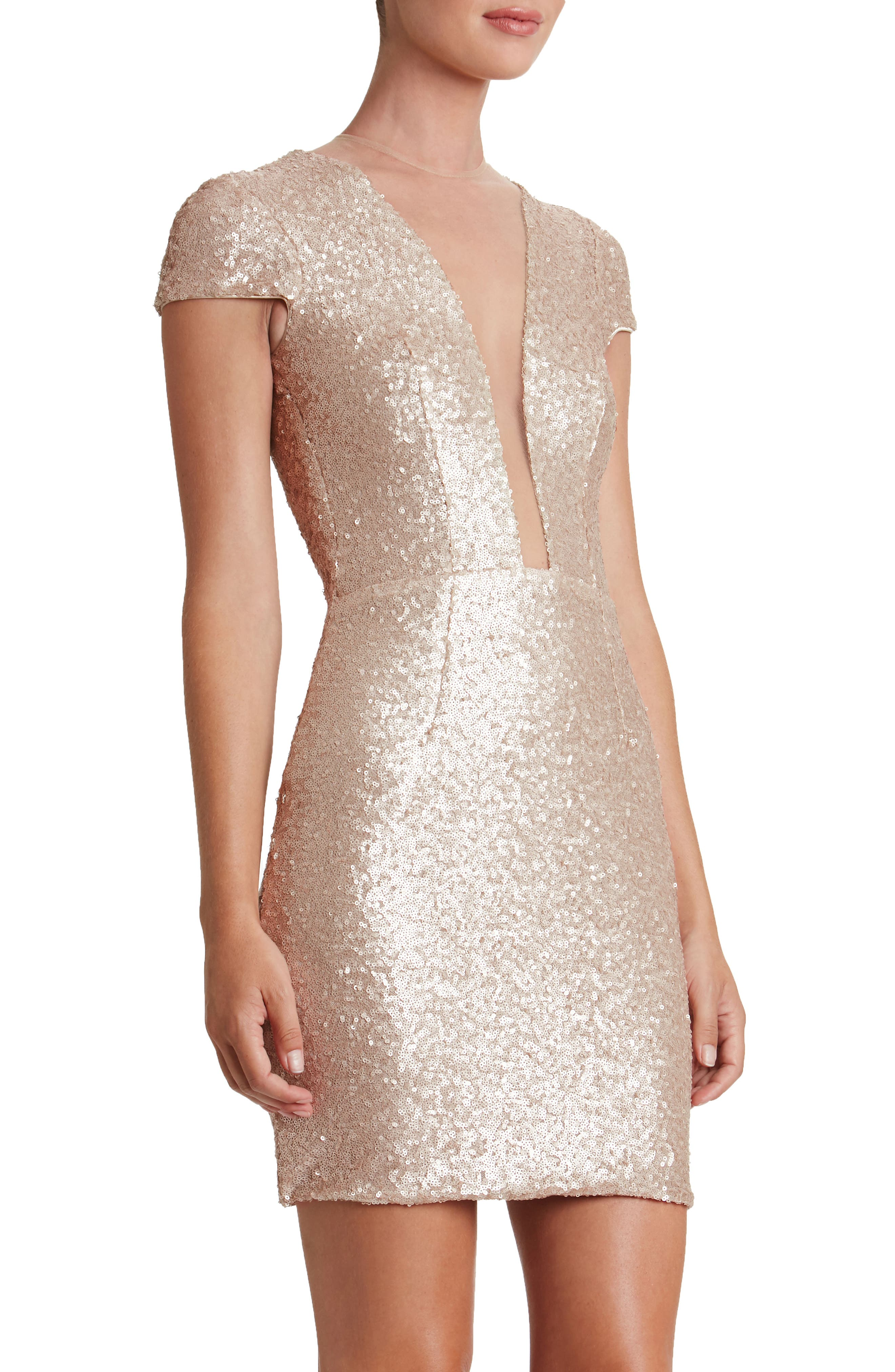Kylie Sequin Minidress,                             Alternate thumbnail 4, color,                             Pale Blush