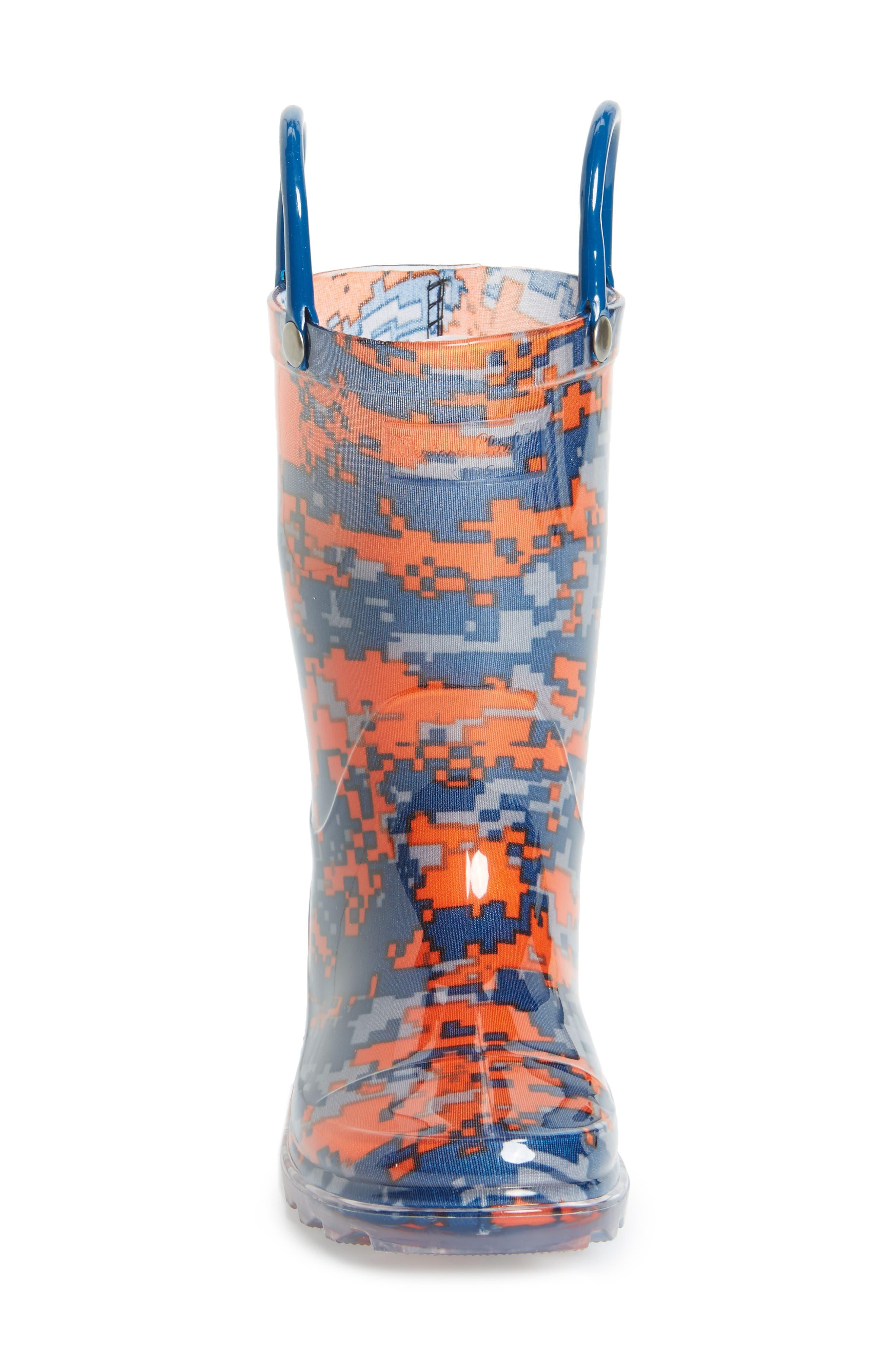 Digital Camo Light-Up Rain Boot,                             Alternate thumbnail 3, color,                             Navy