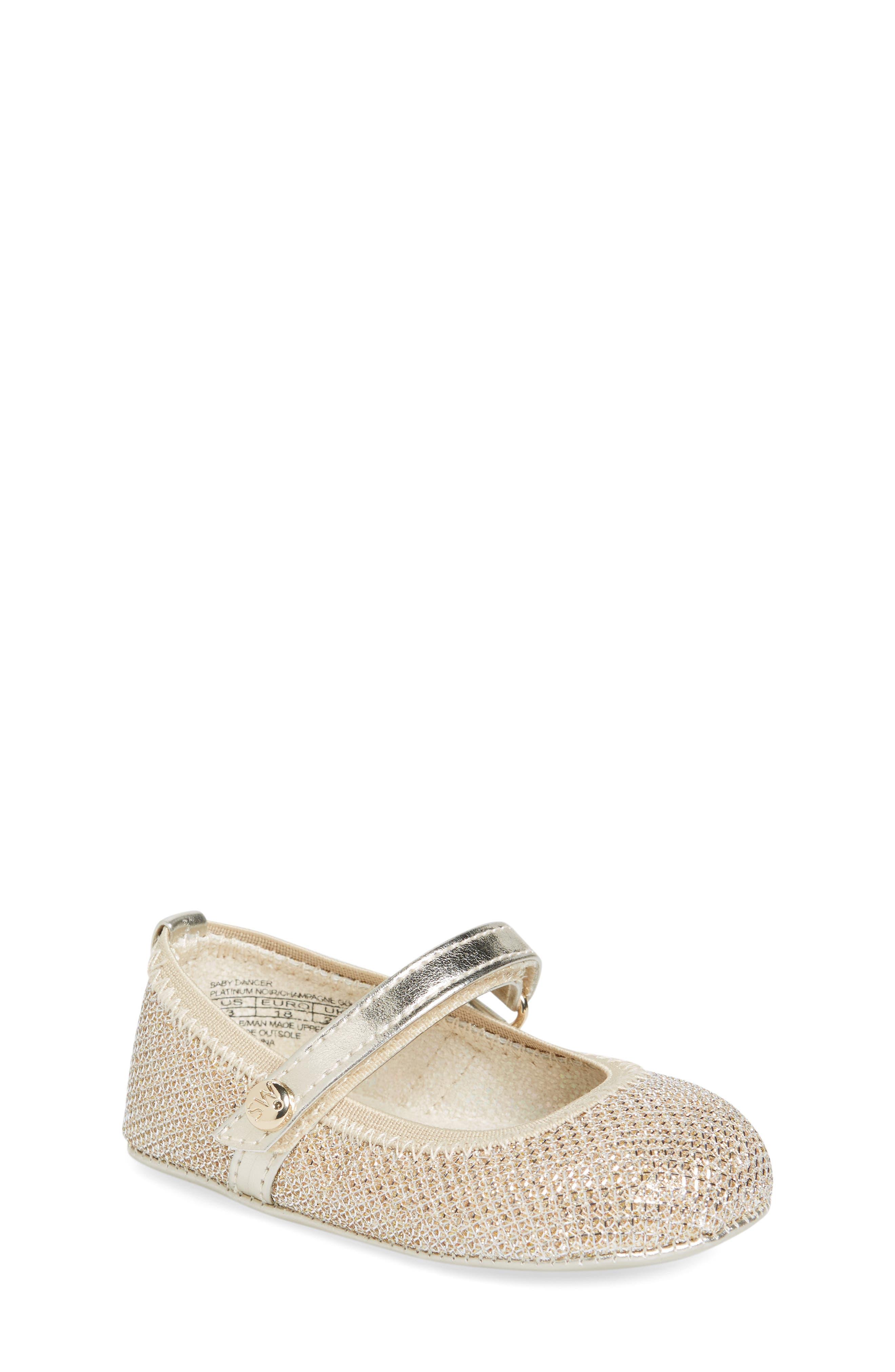 Baby Dancer Crib Shoe,                         Main,                         color, Platinum Gold
