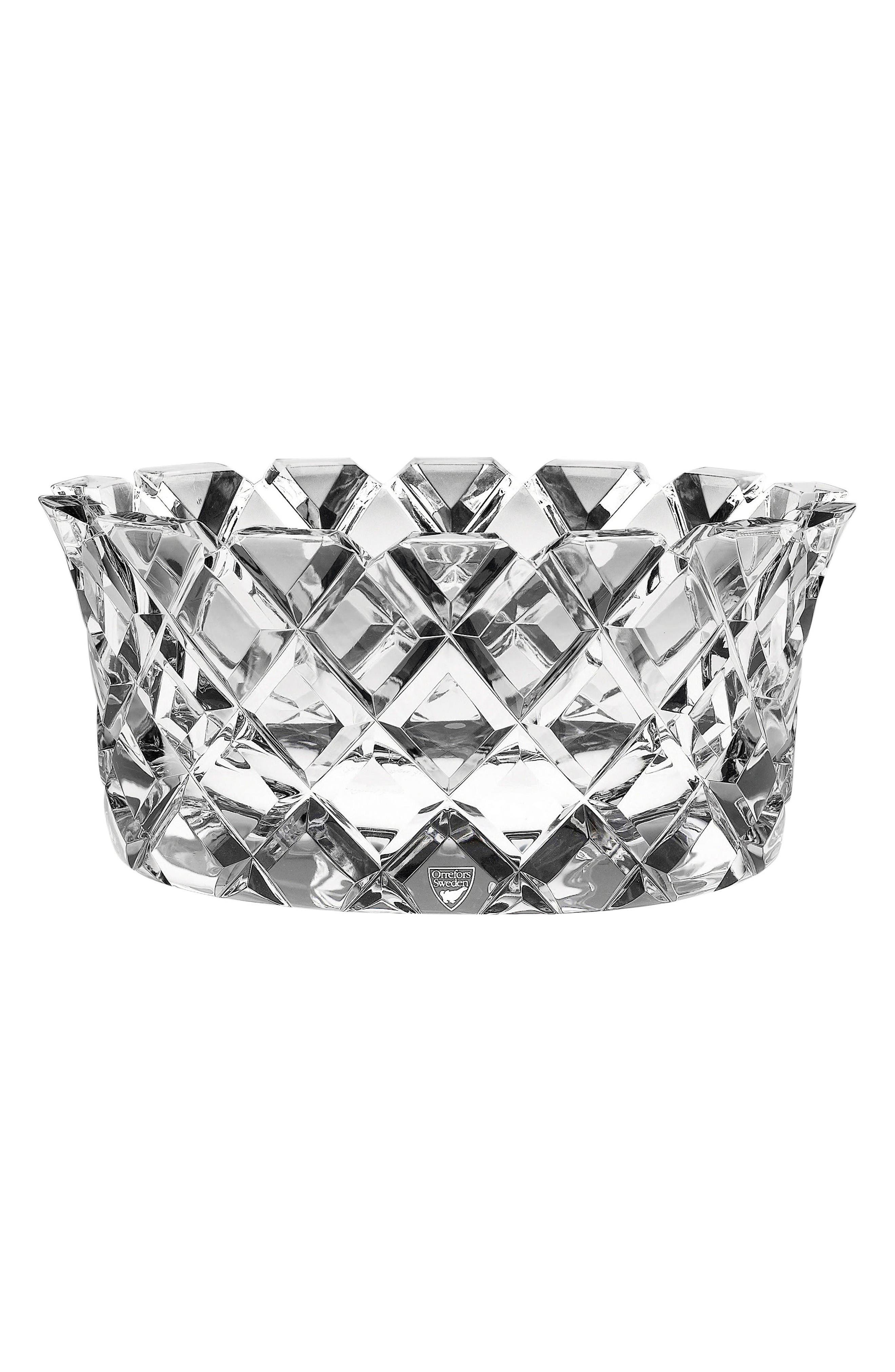 Sofiero Low Crystal Bowl,                             Main thumbnail 1, color,                             Clear