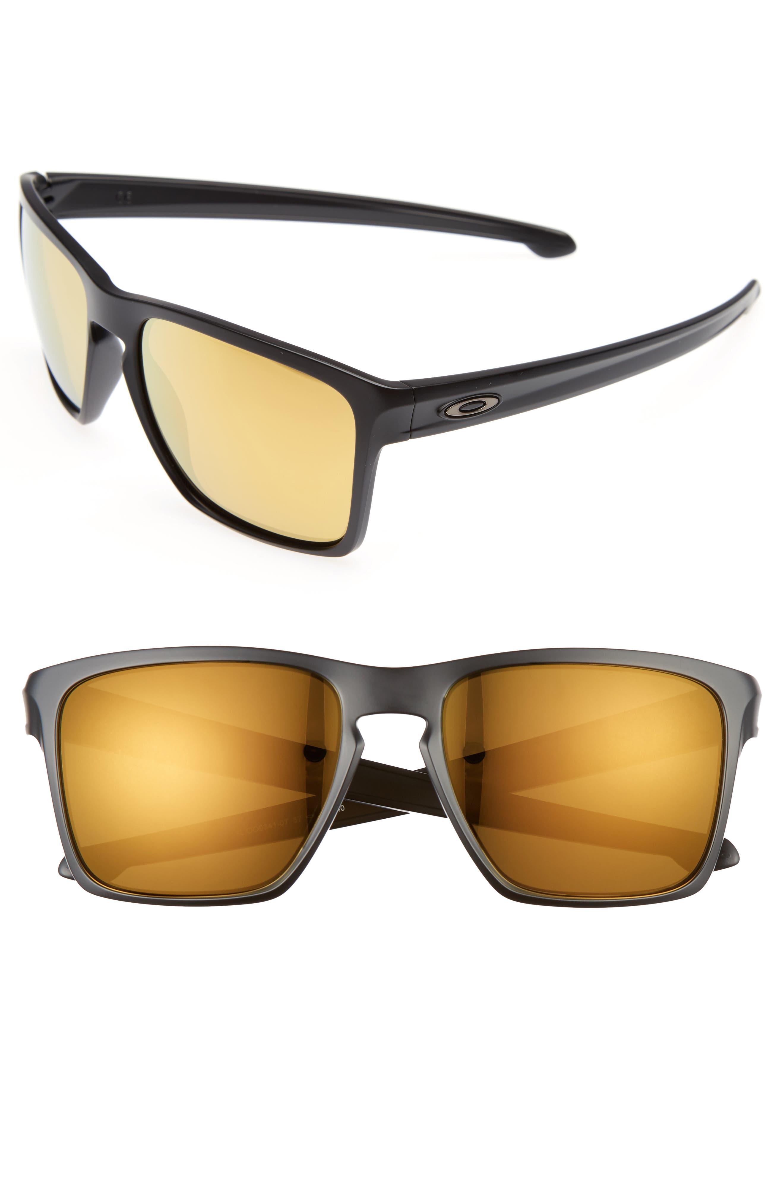Silver XL 57mm Sunglasses,                             Main thumbnail 1, color,                             Black/Yellow