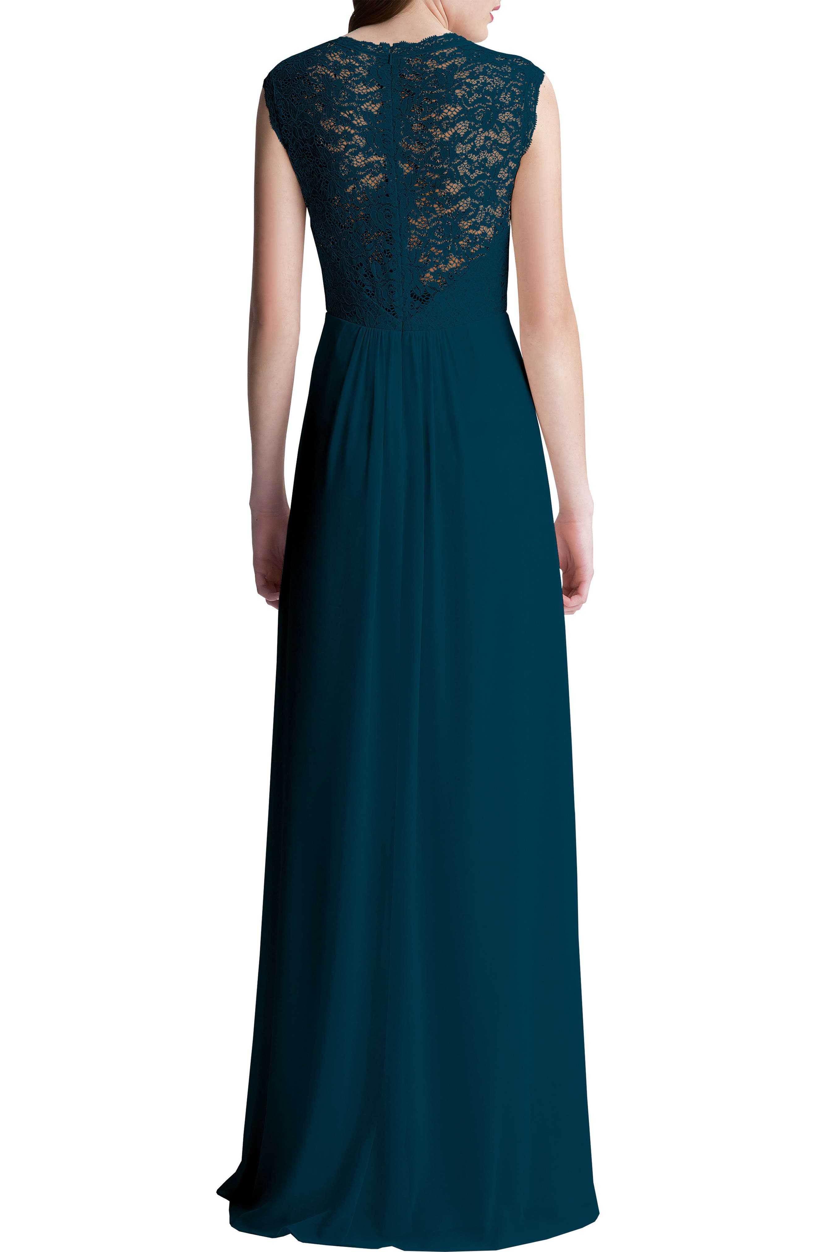 Alternate Image 2  - #Levkoff Lace Bodice A-Line Gown