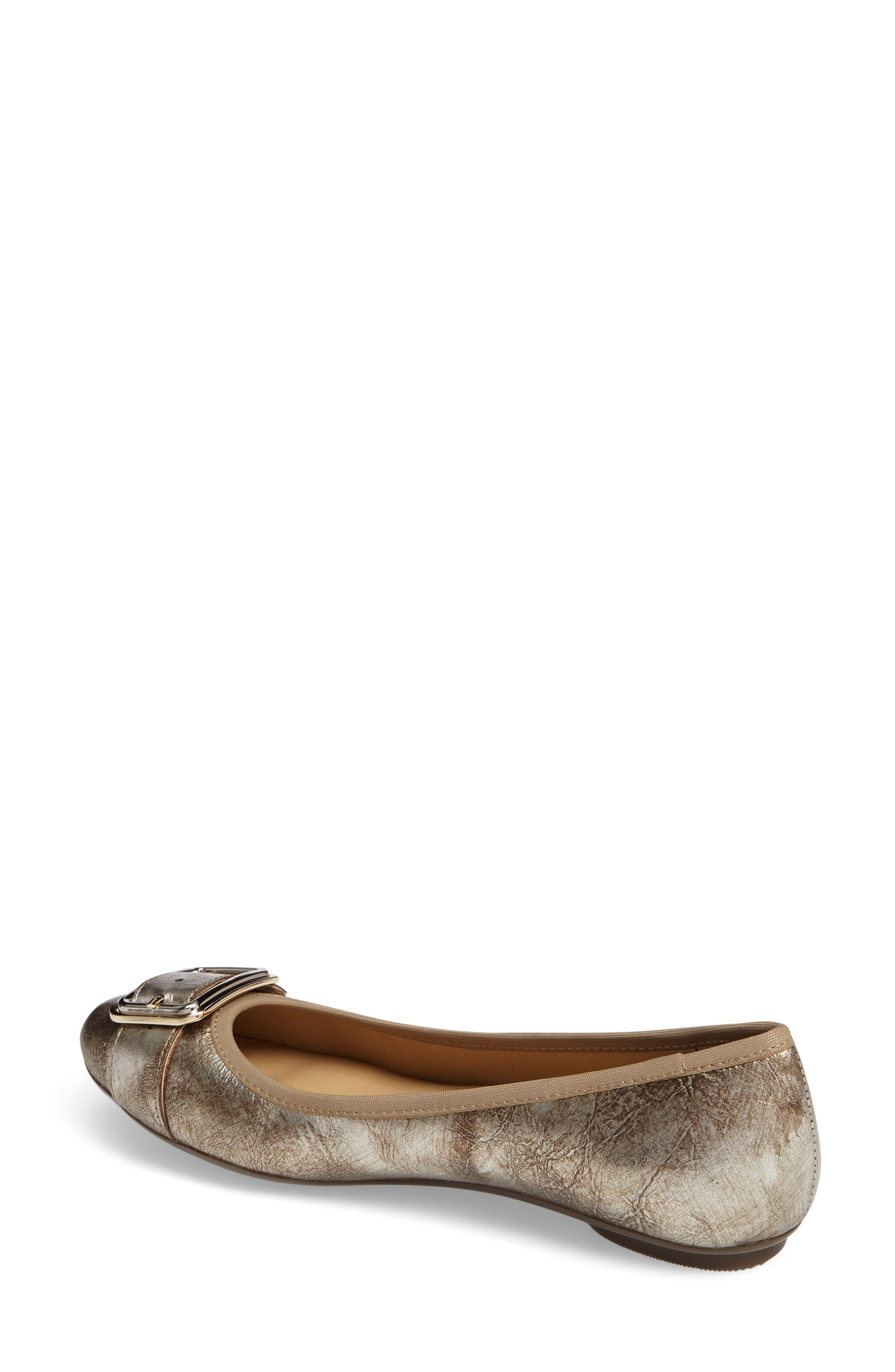 Solana Buckle Flat,                             Alternate thumbnail 2, color,                             Platino Leather