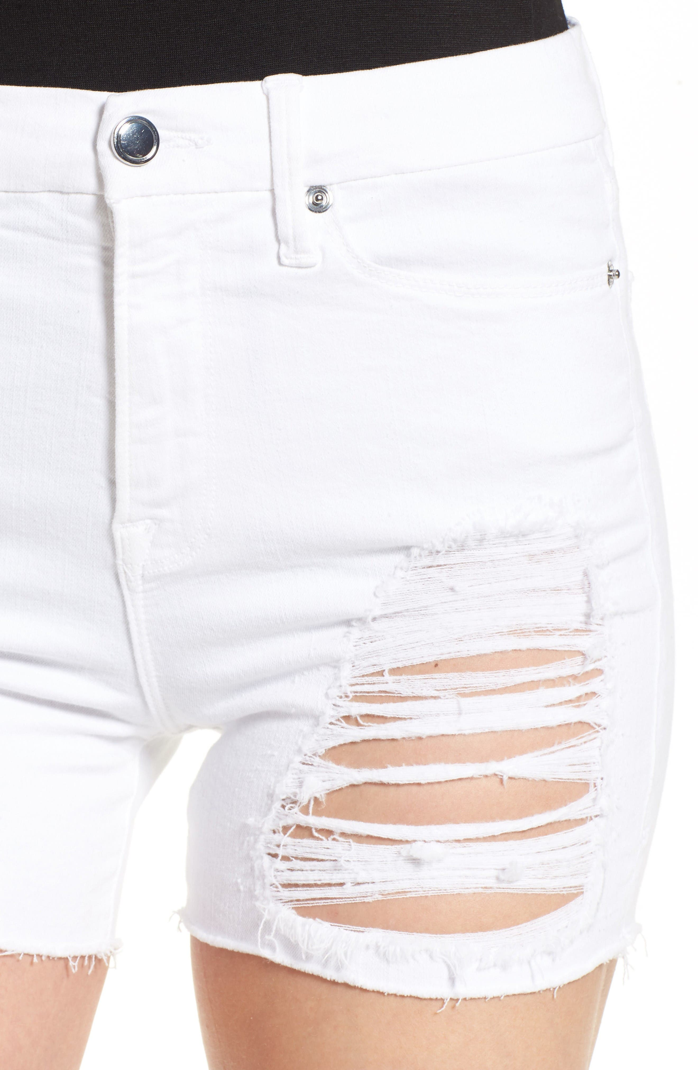 Destroyed Cutoff Denim Shorts,                             Alternate thumbnail 4, color,                             White 004