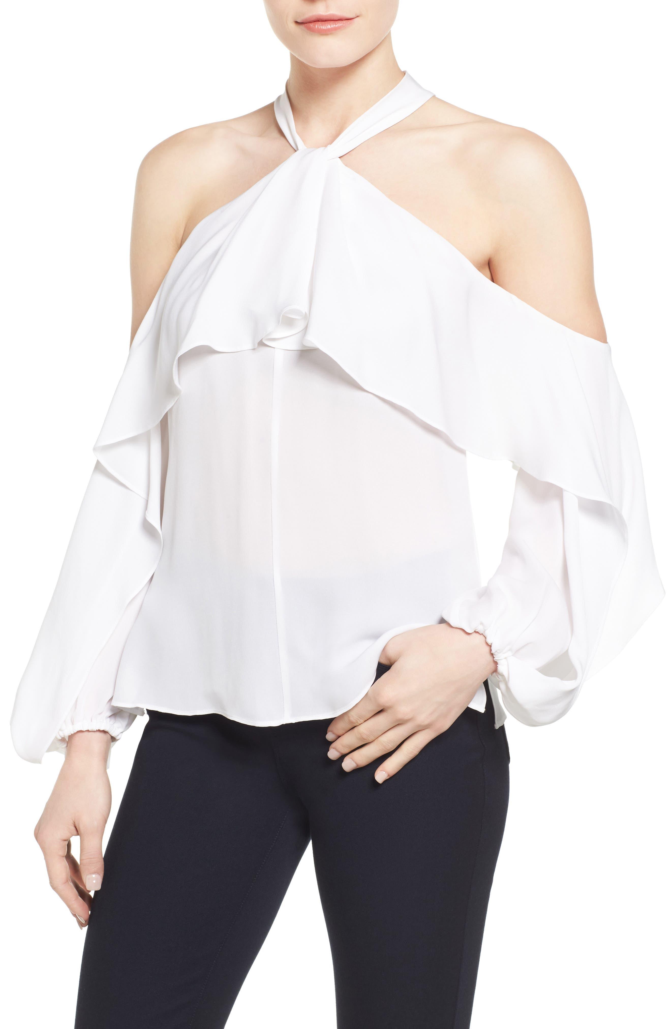 Alternate Image 1 Selected - Kobi Halperin Adrienne Cold Shoulder Silk Blouse