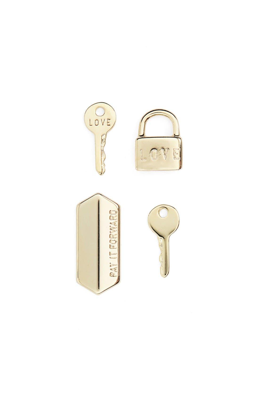 The Giving Keys Set of 4 Love Key Stud Earrings