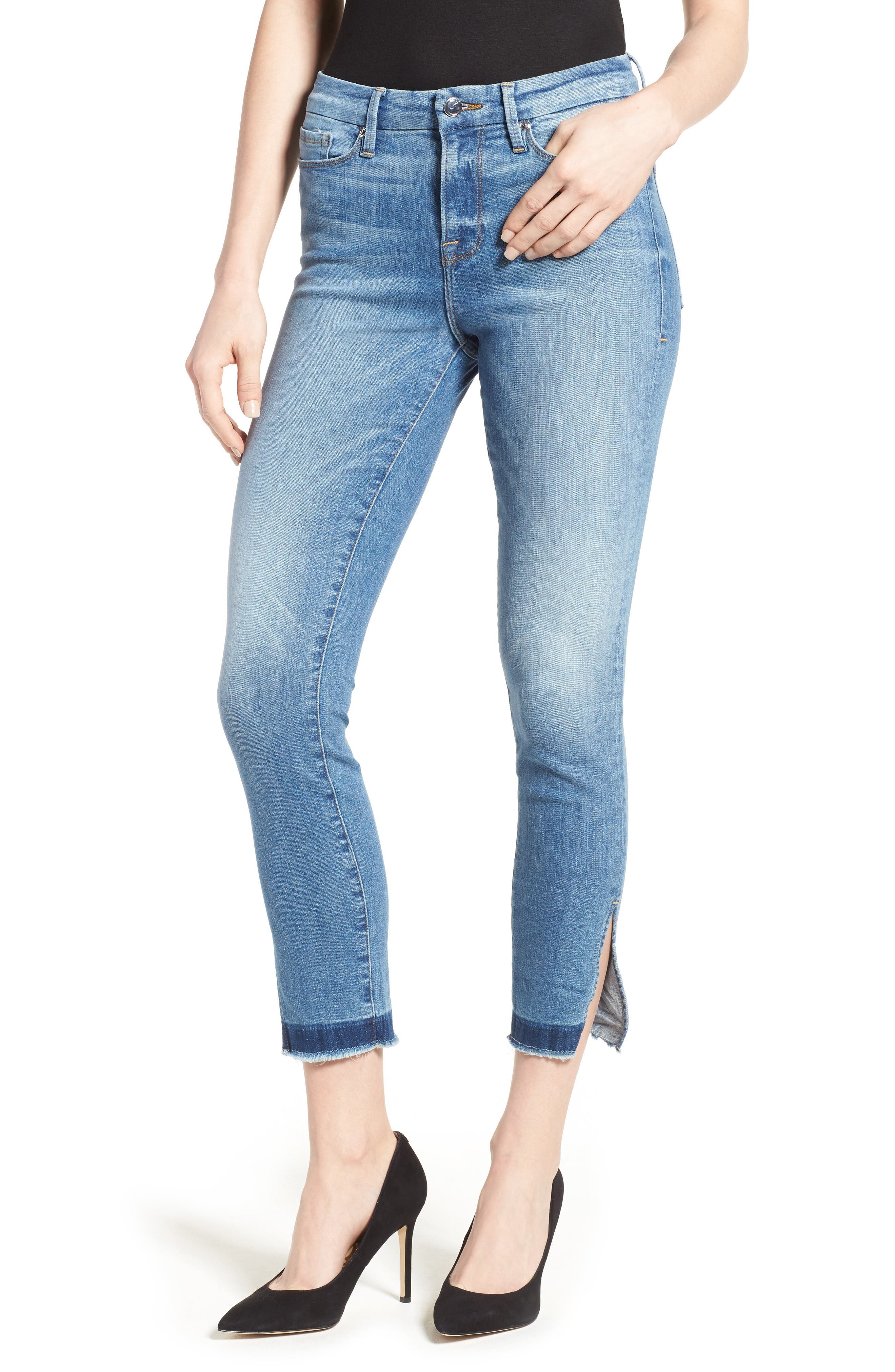 Alternate Image 6  - Good American Good Legs High Rise Split Hem Crop Skinny Jeans (Blue 024) (Extended Sizes)