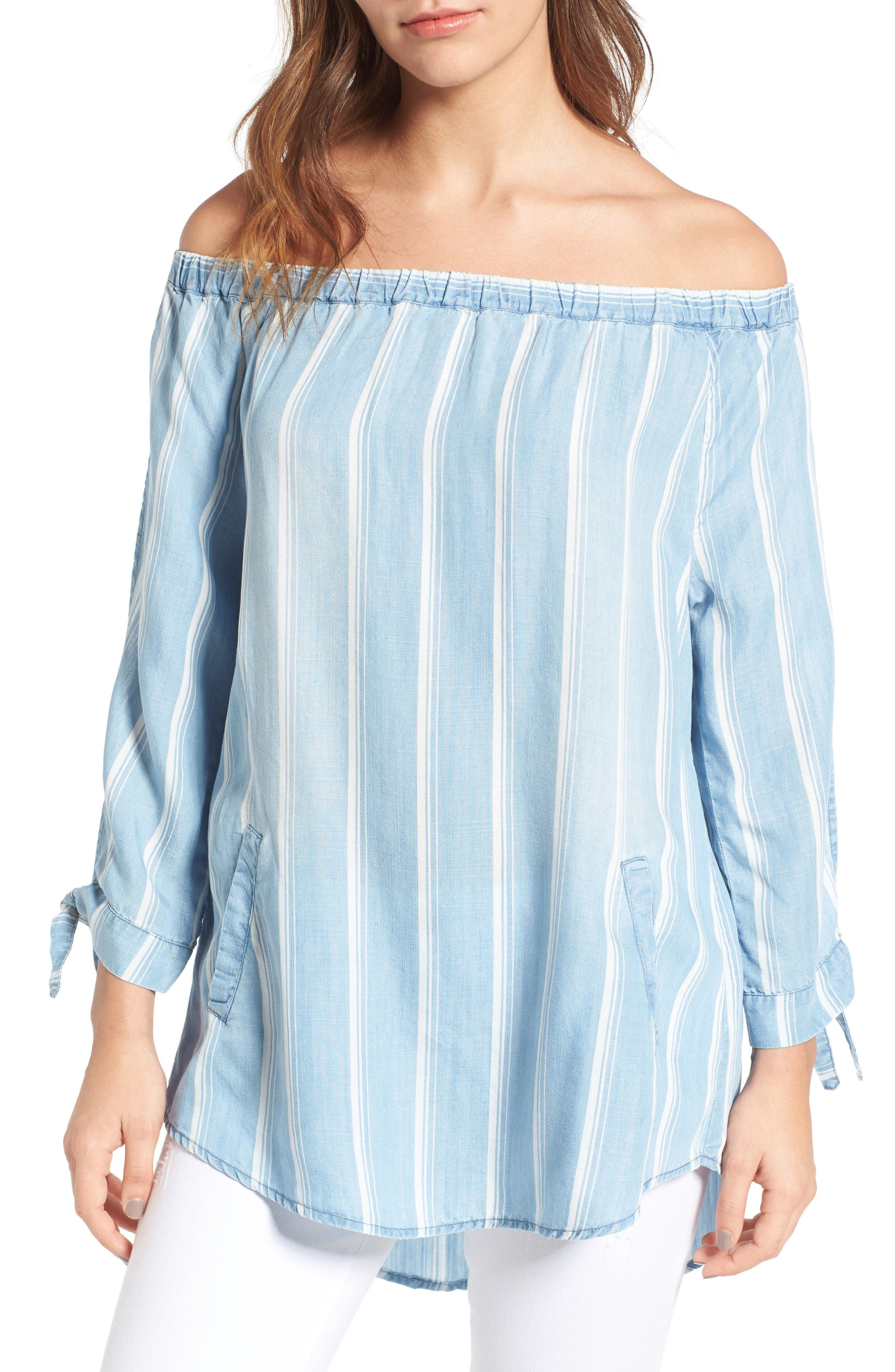 Billy T Off the Shoulder Stripe Chambray Top