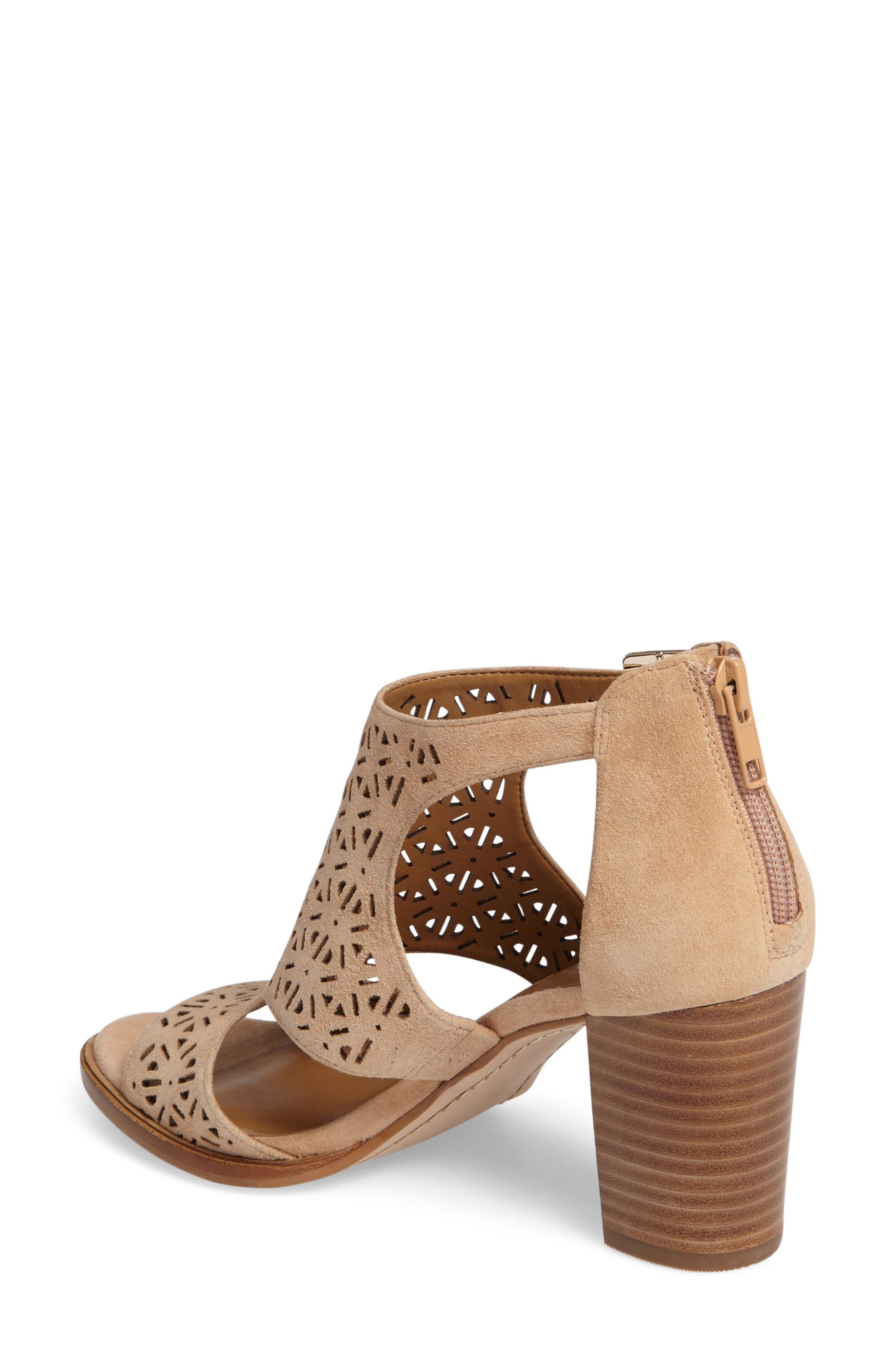 Edythe Block Heel Sandal,                             Alternate thumbnail 2, color,                             Tan Suede