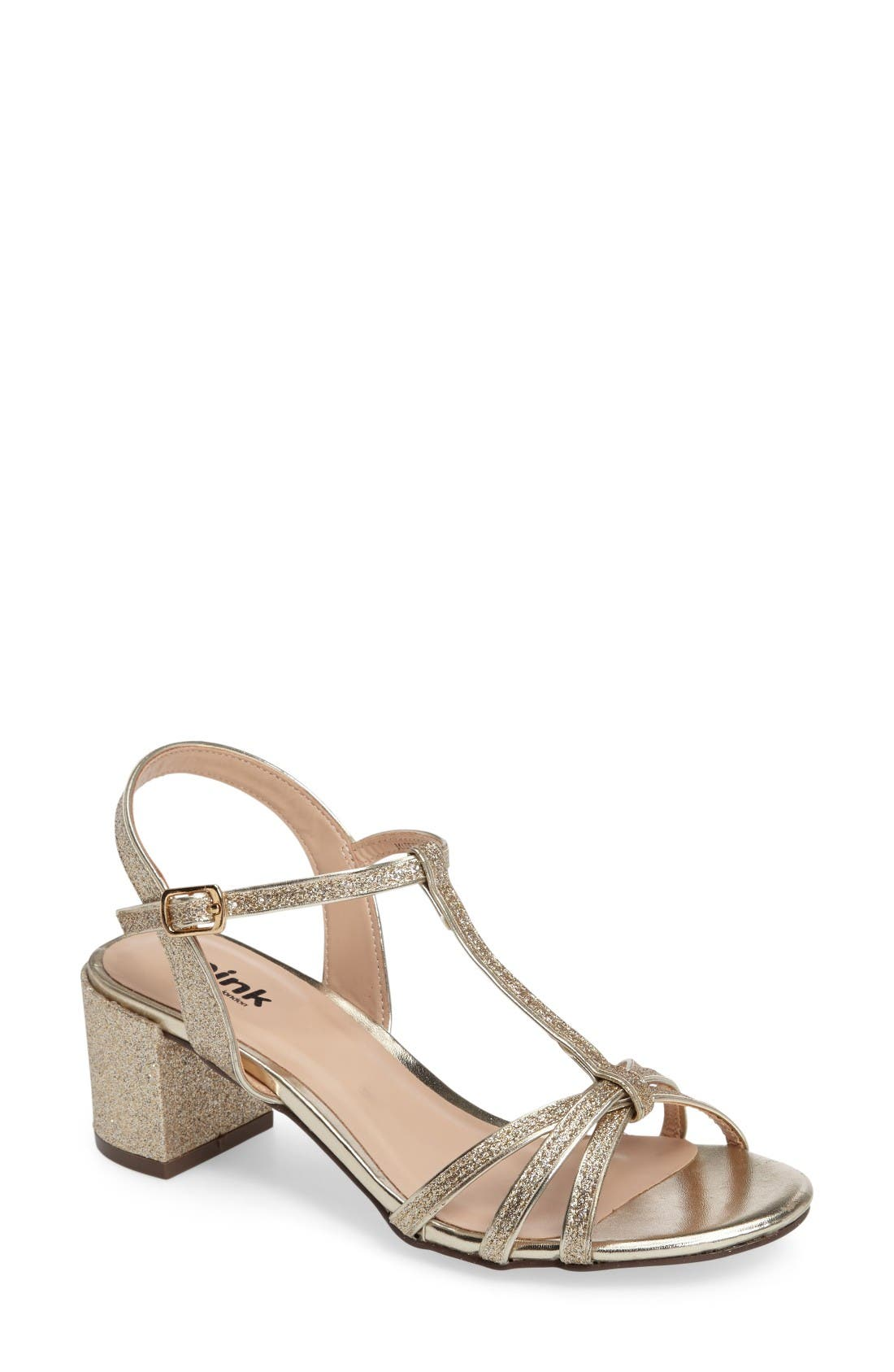 pink paradox london Sadie T-Strap Sandal (Women). GOLD; SILVER
