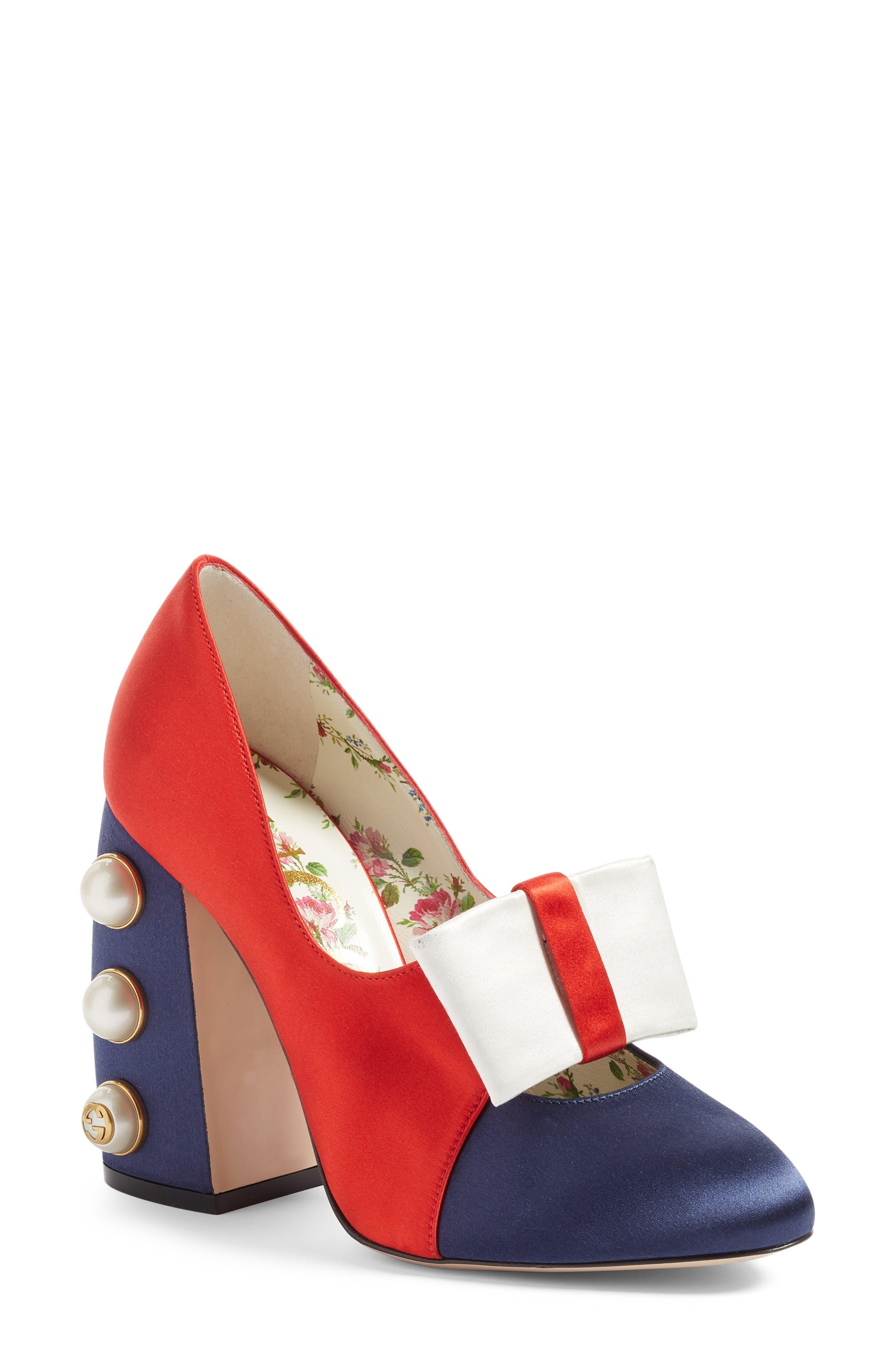 Luna Block Heel Pump,                         Main,                         color, Red Multi Satin
