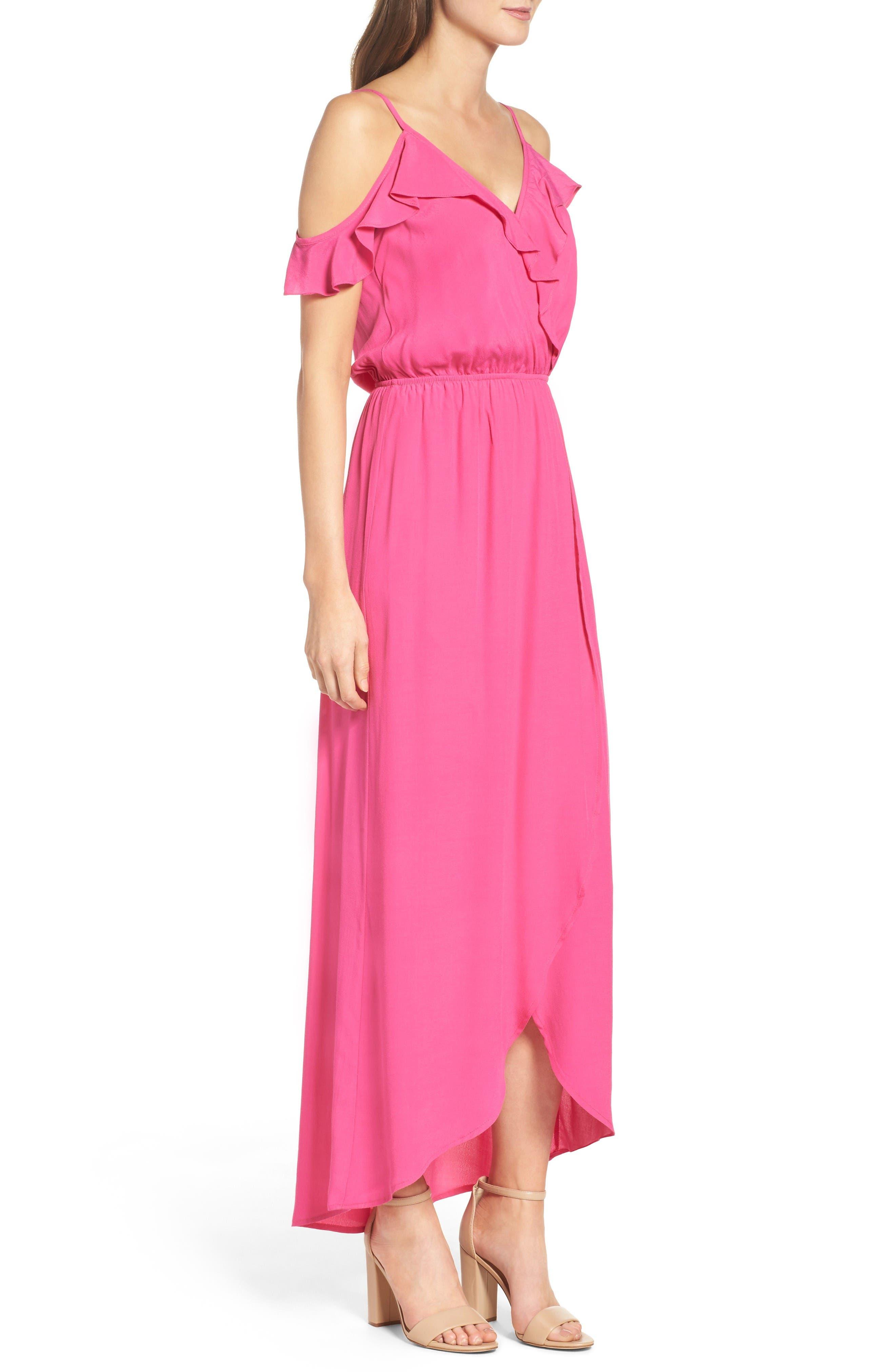 Cold Shoulder Maxi Dress,                             Alternate thumbnail 3, color,                             Pink