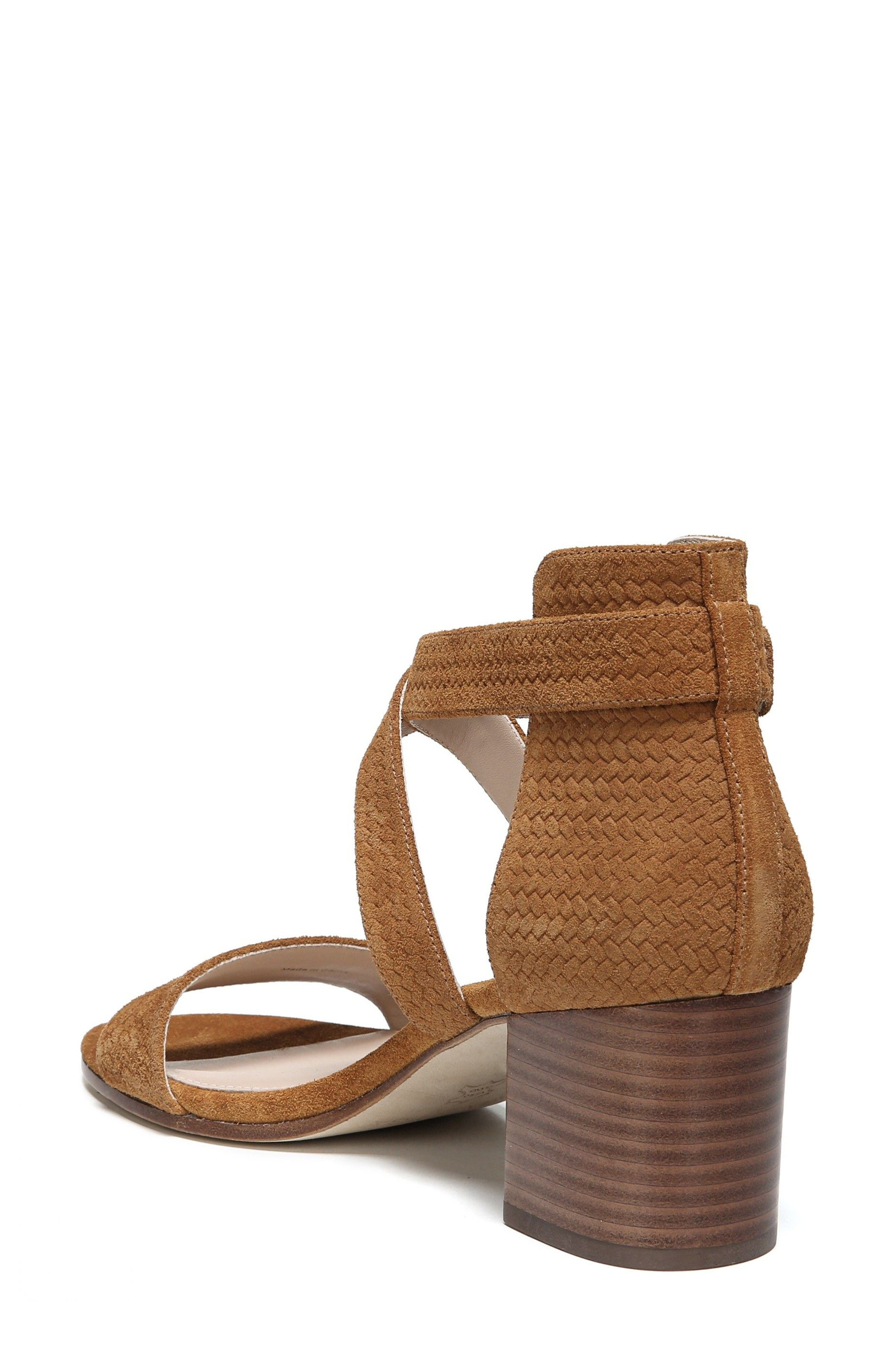 'Jobina' Crisscross Strap Block Heel Sandal,                             Alternate thumbnail 2, color,                             Tawny Suede