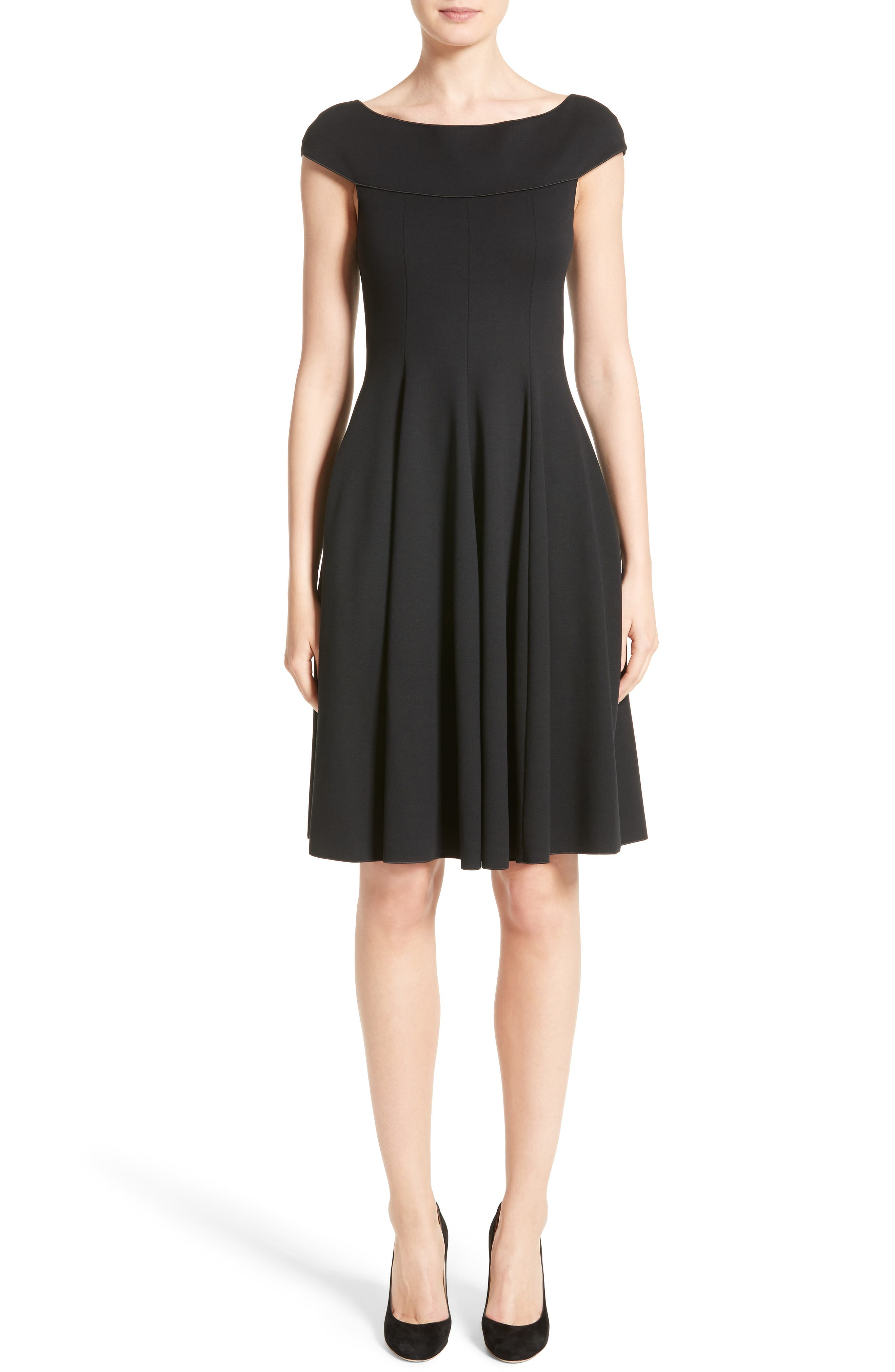 Off the Shoulder Fit & Flare Dress,                             Main thumbnail 1, color,                             Black