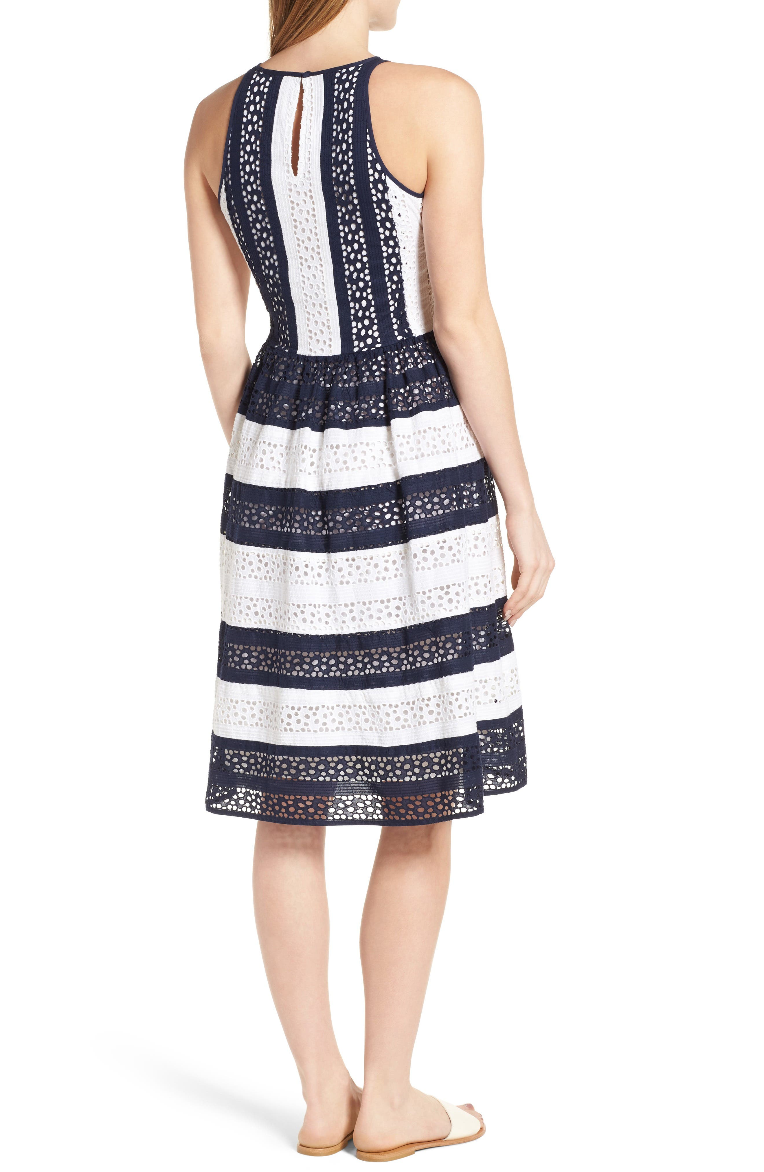 Alternate Image 2  - MICHAEL Michael Kors Stripe Eyelet Fit & Flare Dress
