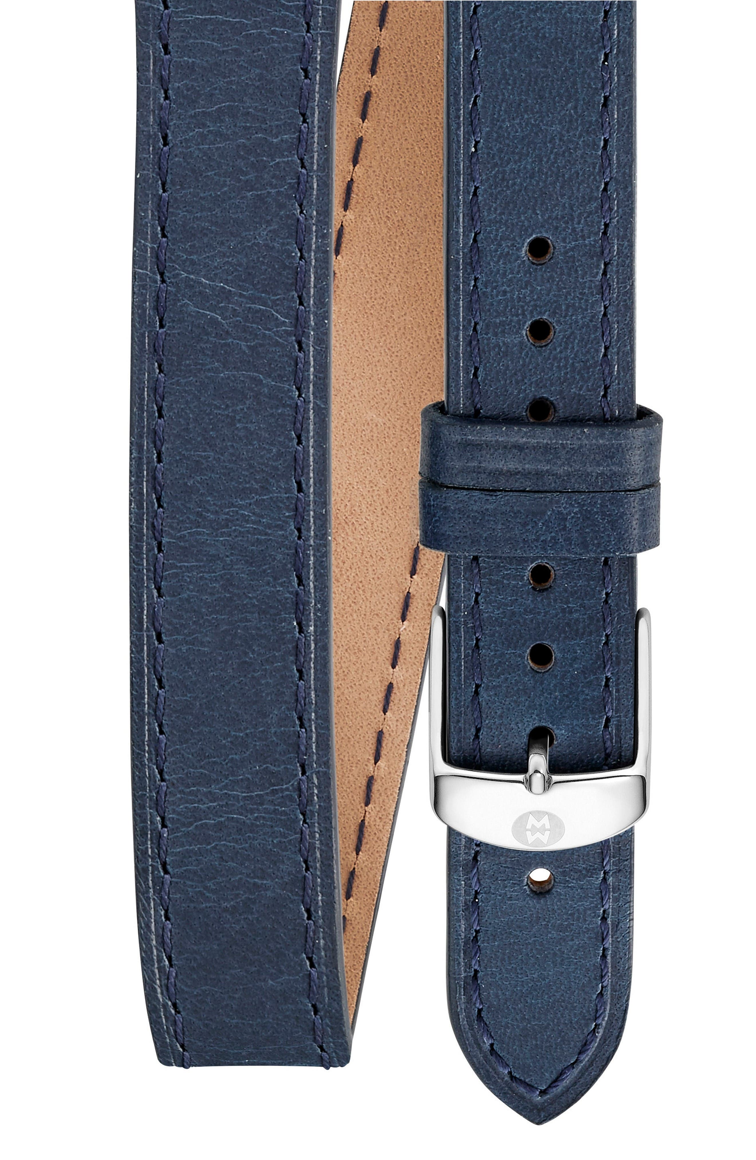 18mm Leather Watch Strap,                         Main,                         color, Navy