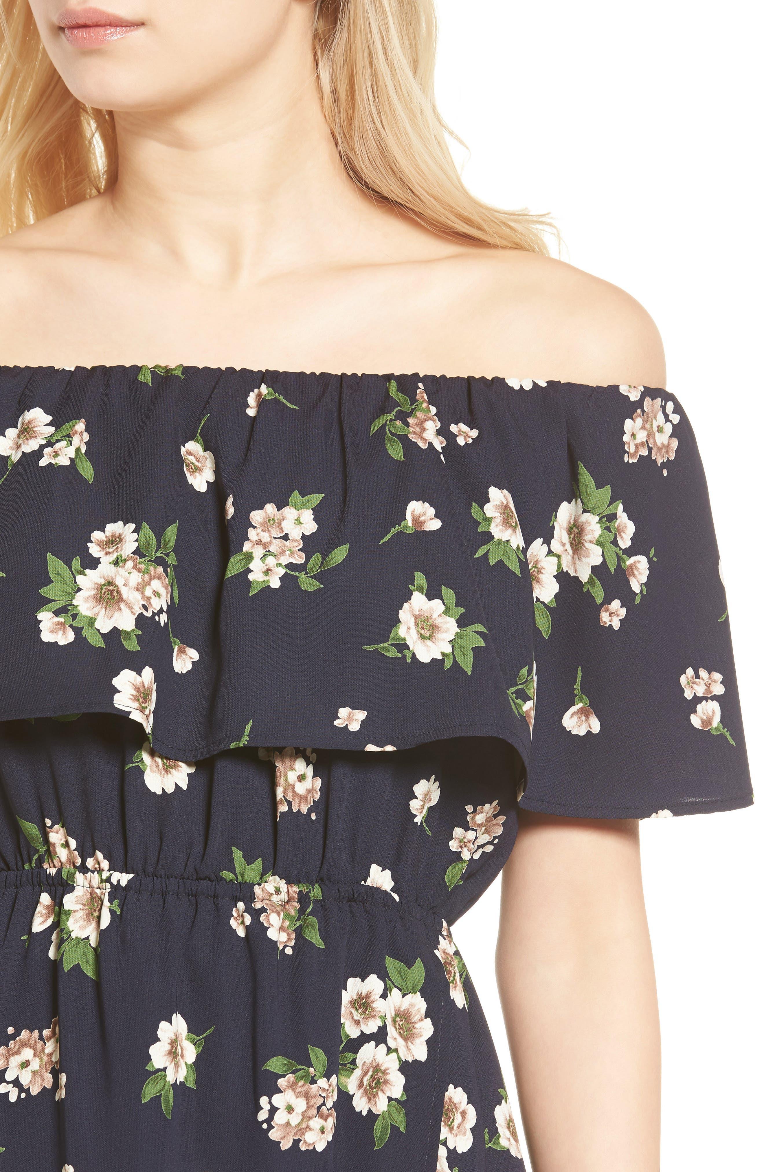 Alternate Image 4  - Soprano Floral Print Off the Shoulder Dress