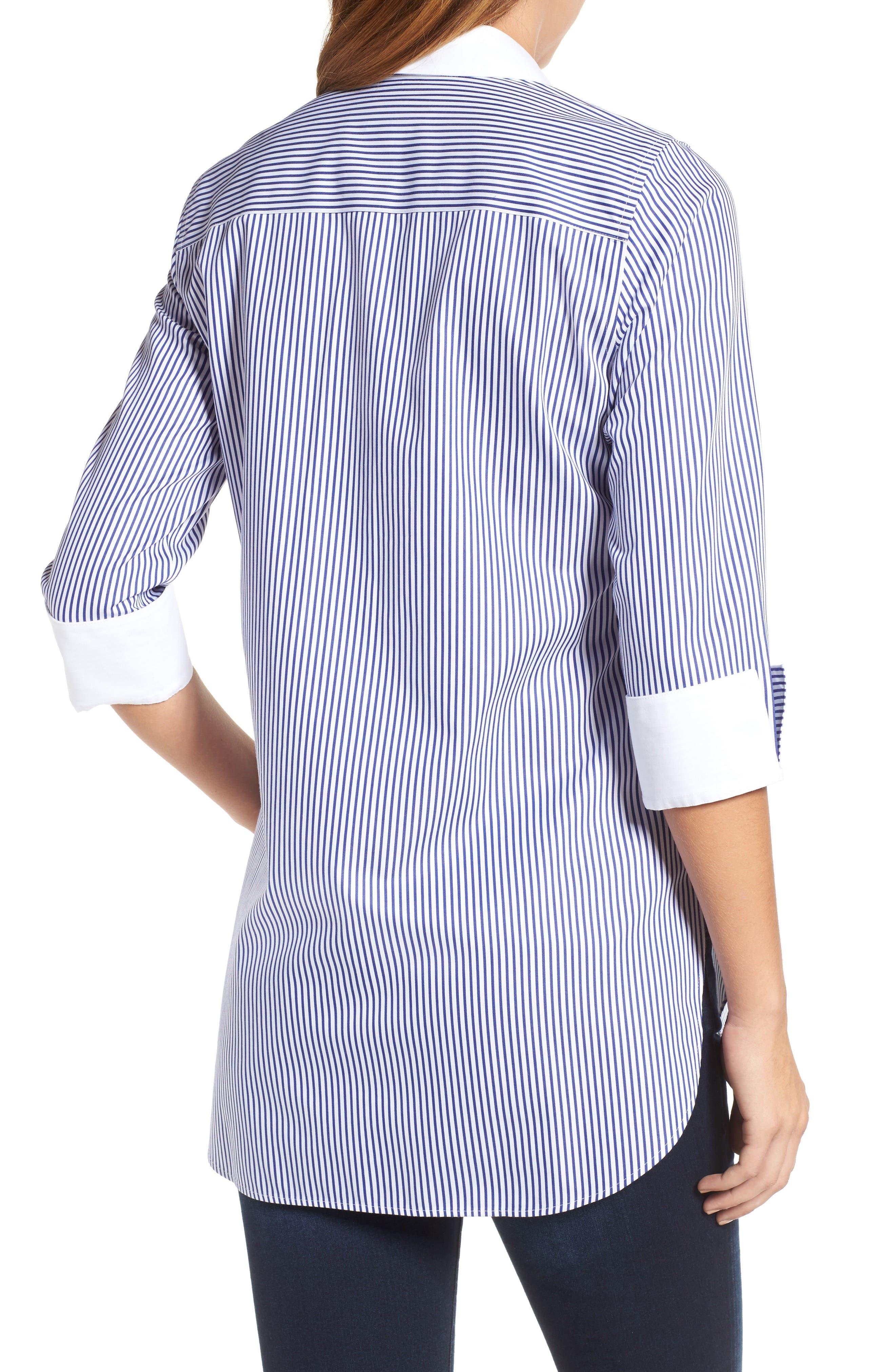 Mini Stripe Non-Iron Tunic Shirt,                             Alternate thumbnail 2, color,                             Blue Lagoon