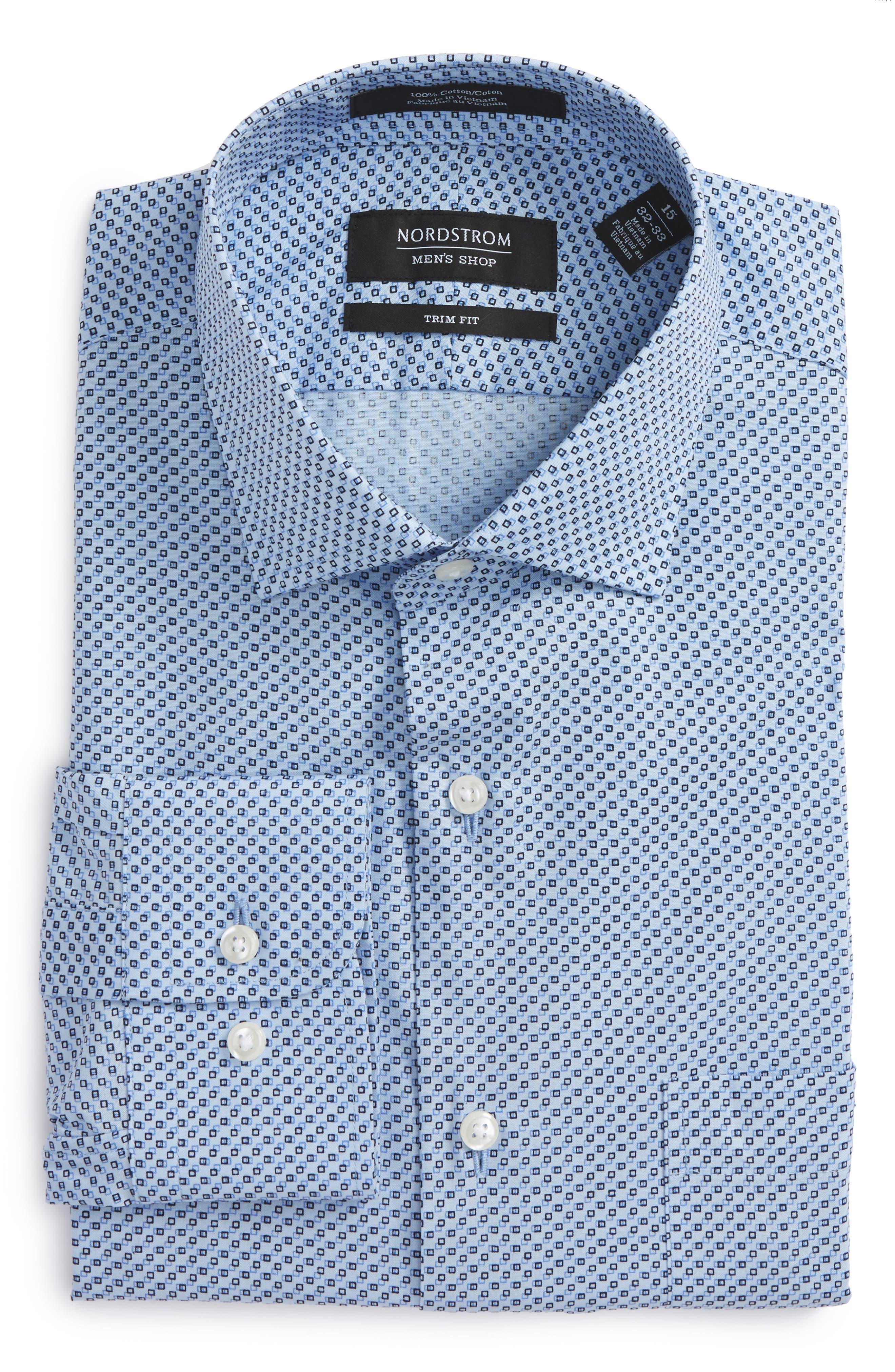 NORDSTROM MENS SHOP Trim Fit Geometric Dress Shirt